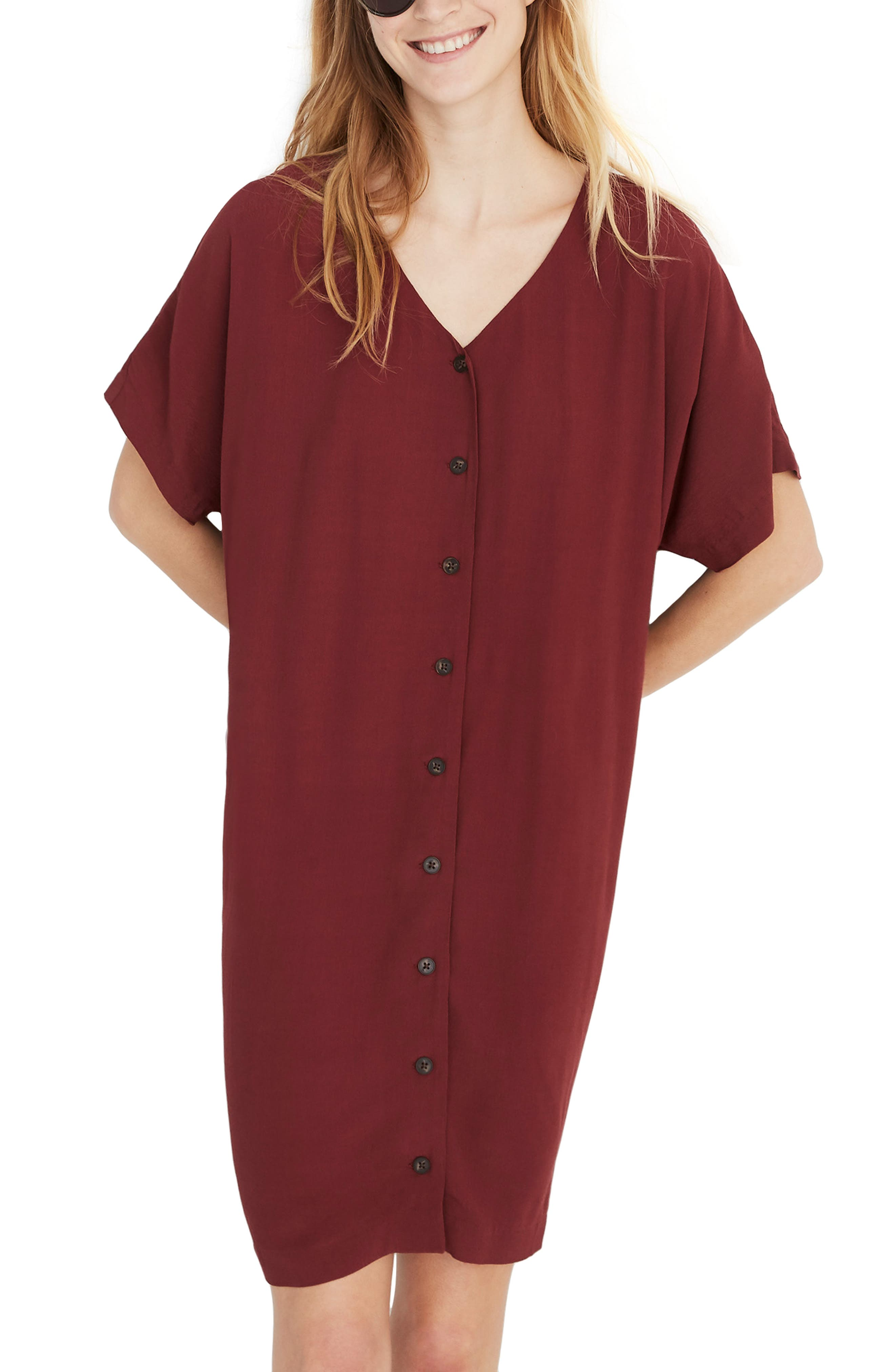 MADEWELL, Button Front Easy Dress, Main thumbnail 1, color, RICH BURGUNDY