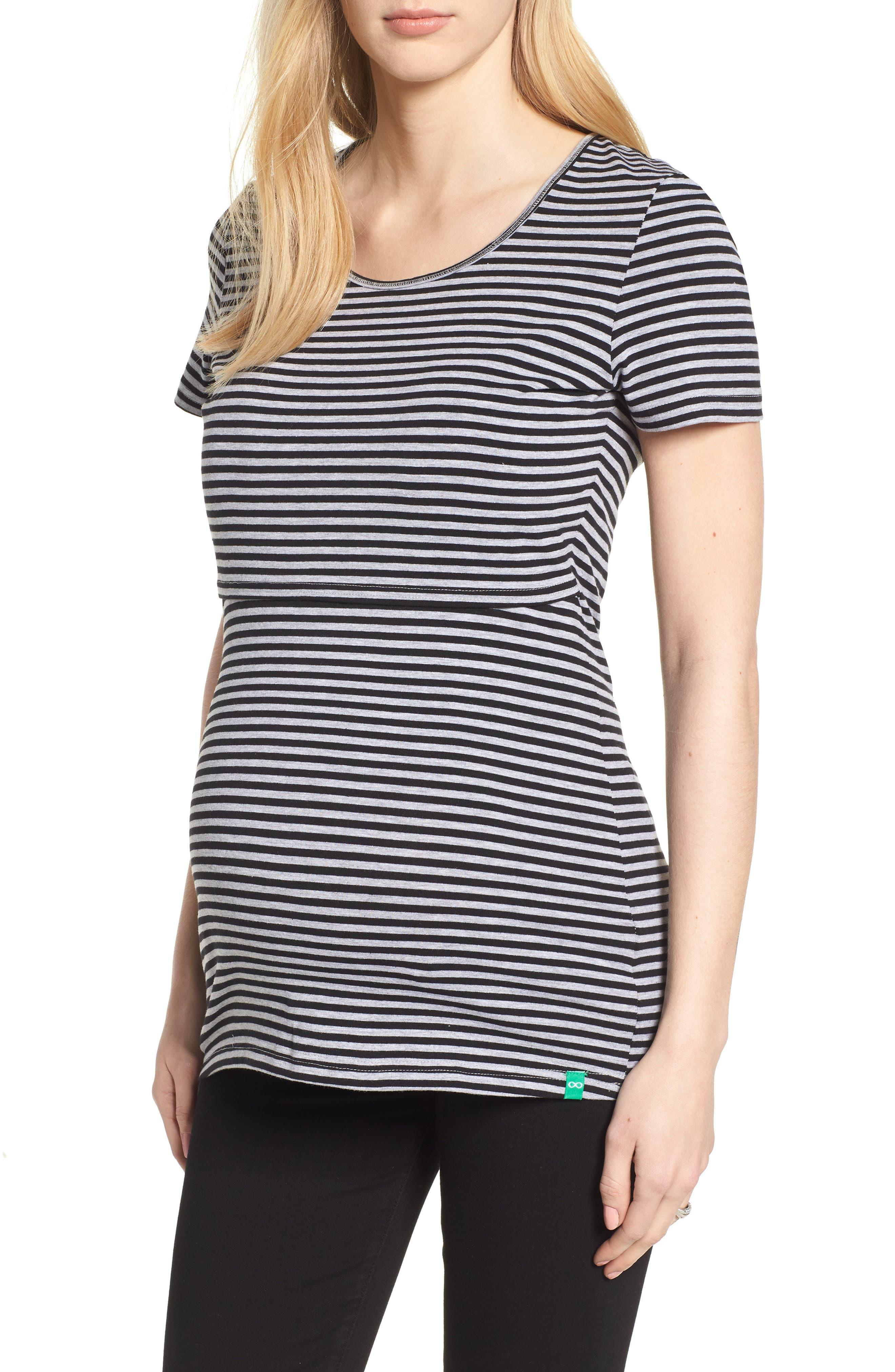 MODERN ETERNITY Maternity/Nursing Tee, Main, color, GREY/ BLACK