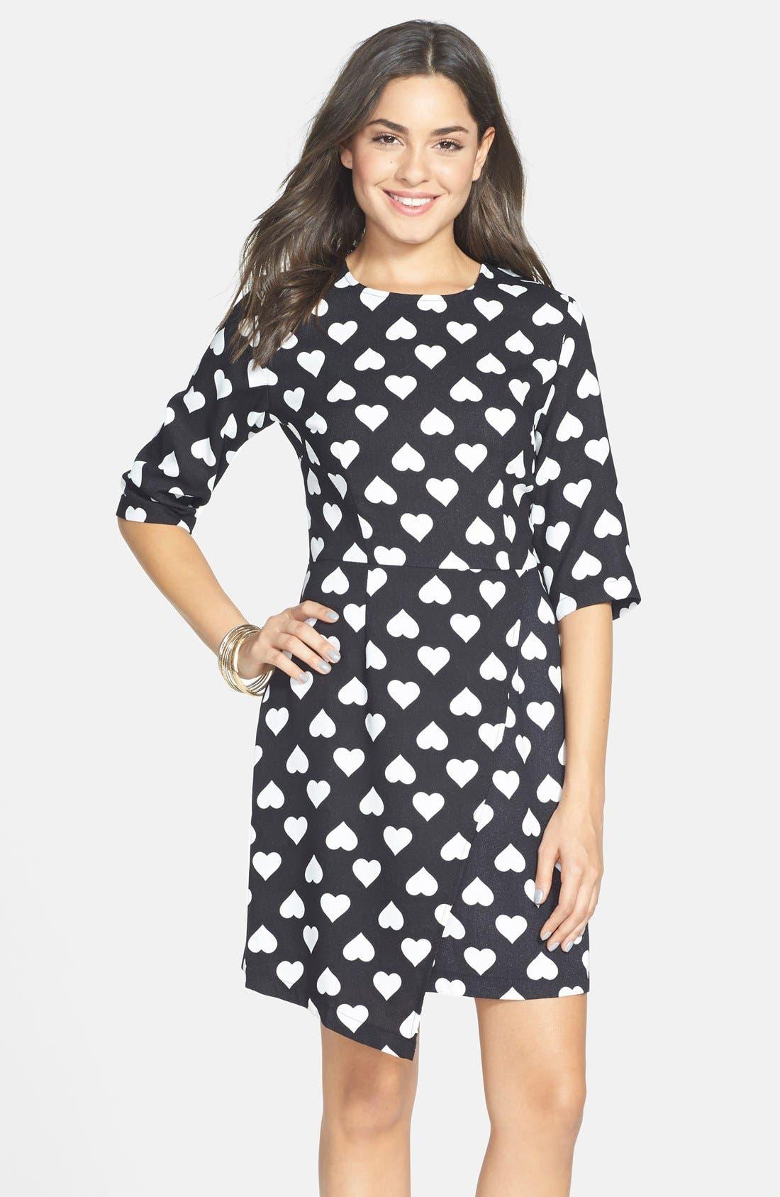 POPPY LUX, 'Nancy' Heart Print Asymmetrical Dress, Alternate thumbnail 5, color, 001