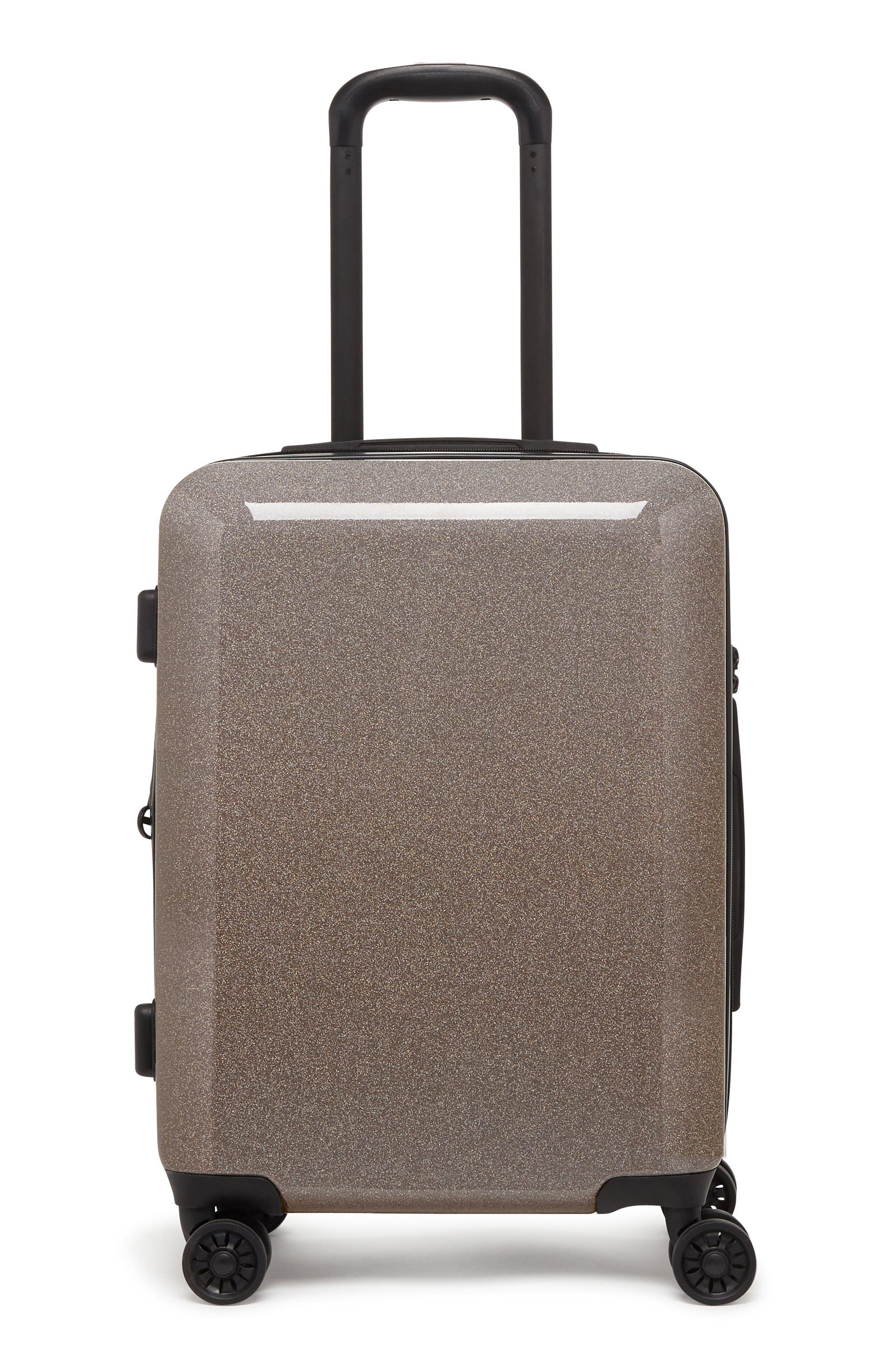 CALPAK, Medora Glitter 20-Inch Hardshell Spinner Carry-On Suitcase, Main thumbnail 1, color, ECLIPSE