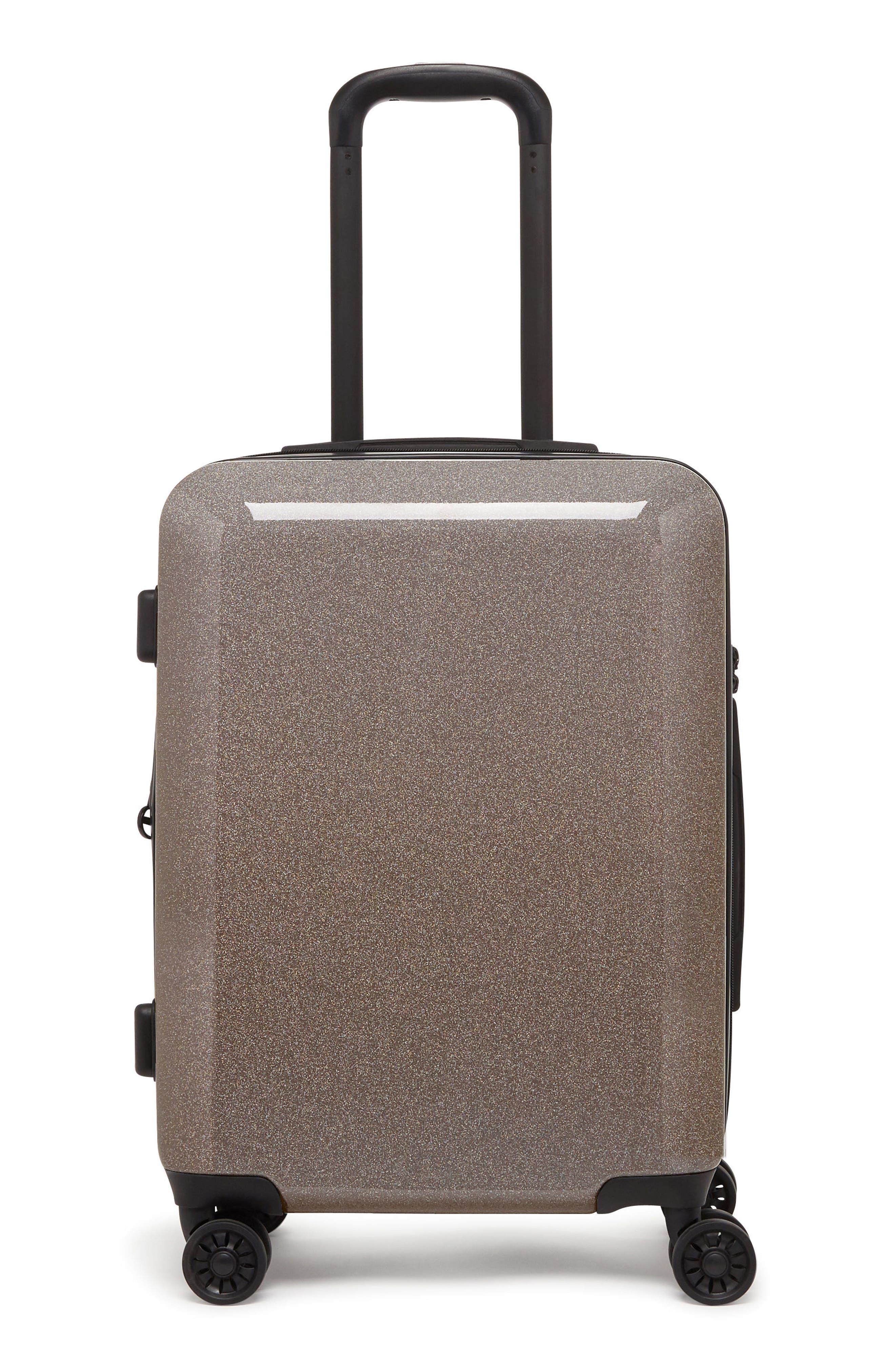 CALPAK Medora Glitter 20-Inch Hardshell Spinner Carry-On Suitcase, Main, color, ECLIPSE