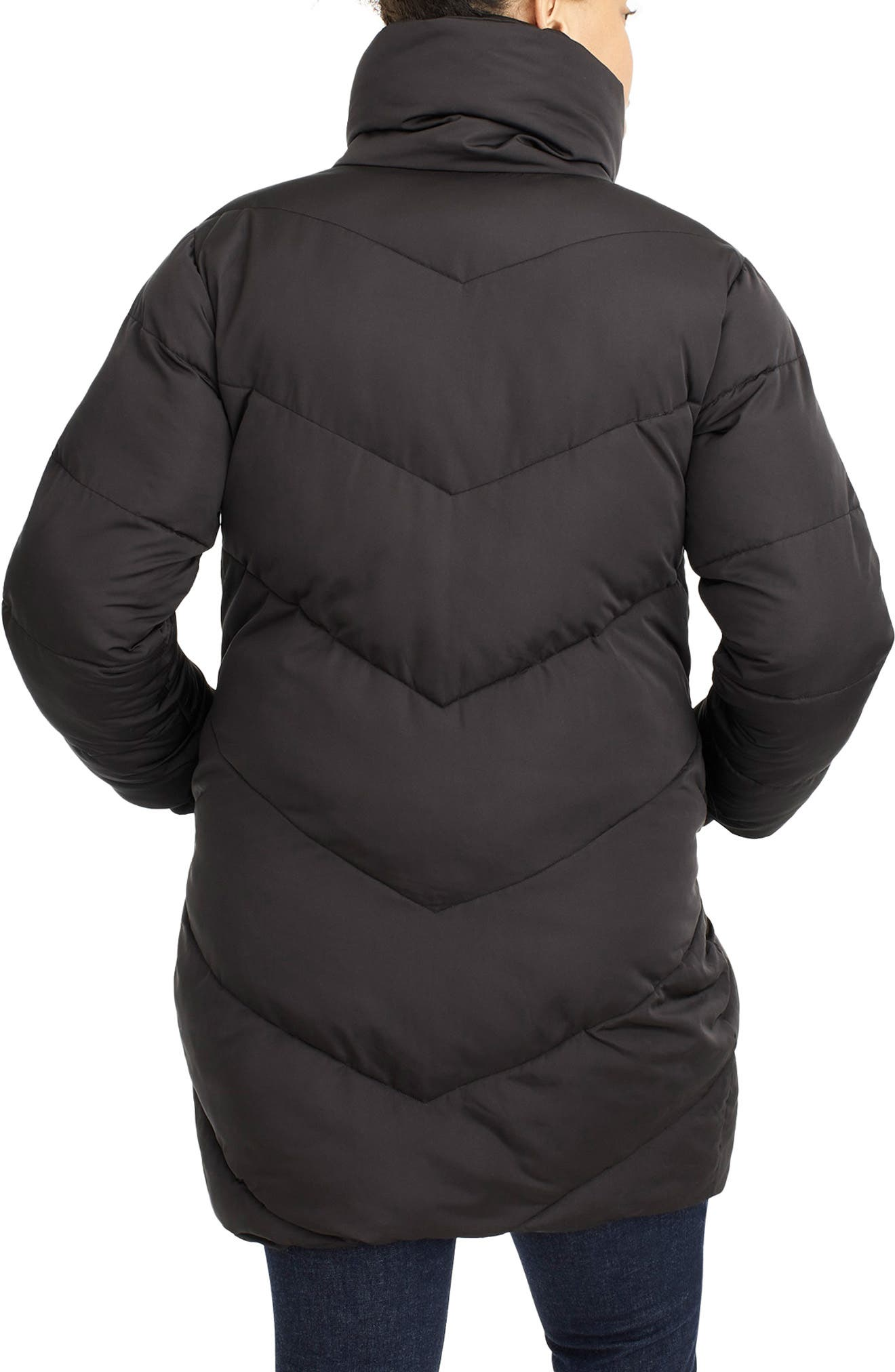 UNIVERSAL STANDARD, for J.Crew Chevron Long Puffer Coat, Alternate thumbnail 2, color, BLACK