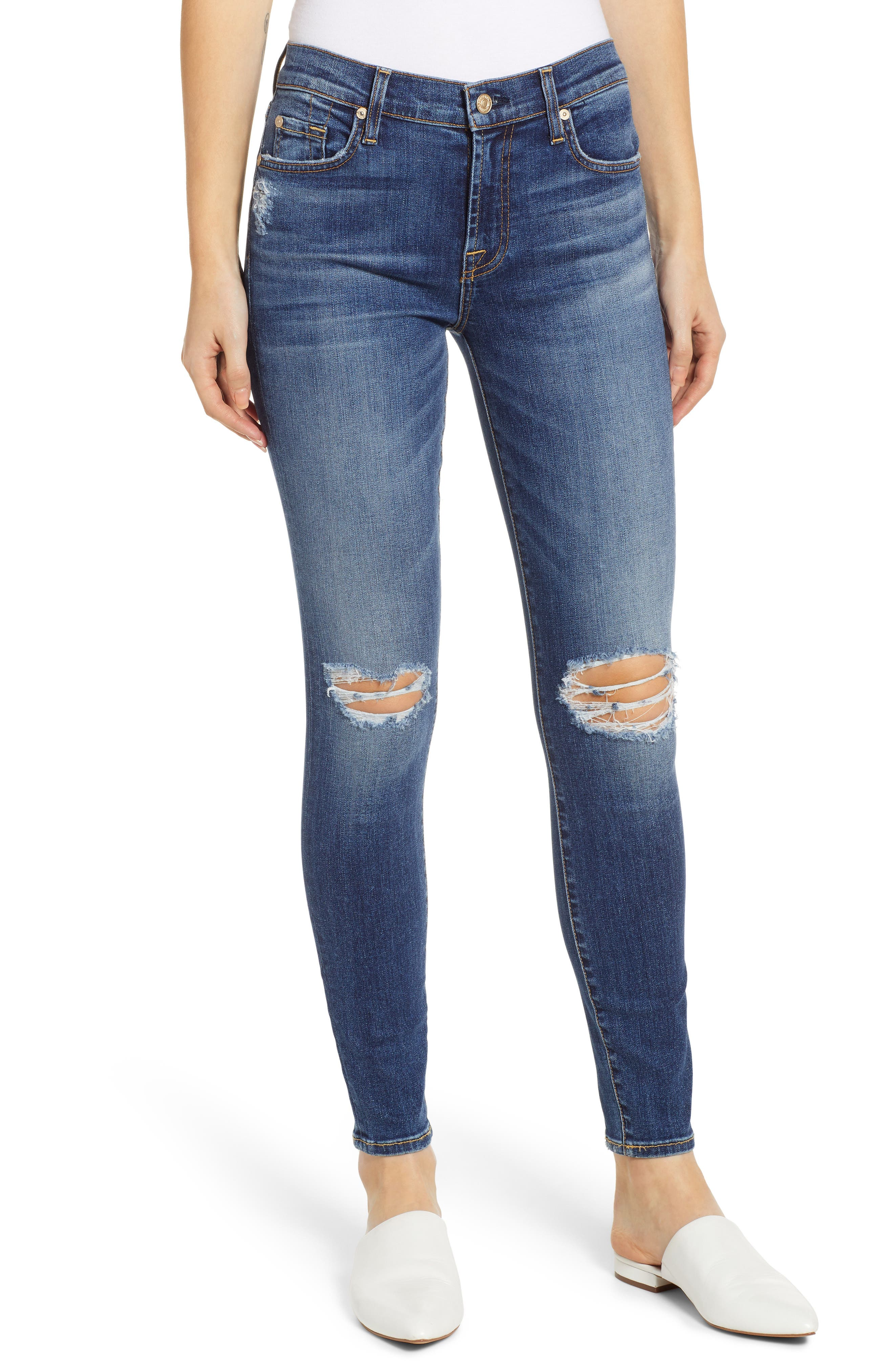 7 FOR ALL MANKIND<SUP>®</SUP>, Ankle Skinny Jeans, Main thumbnail 1, color, BLUE MONDAY