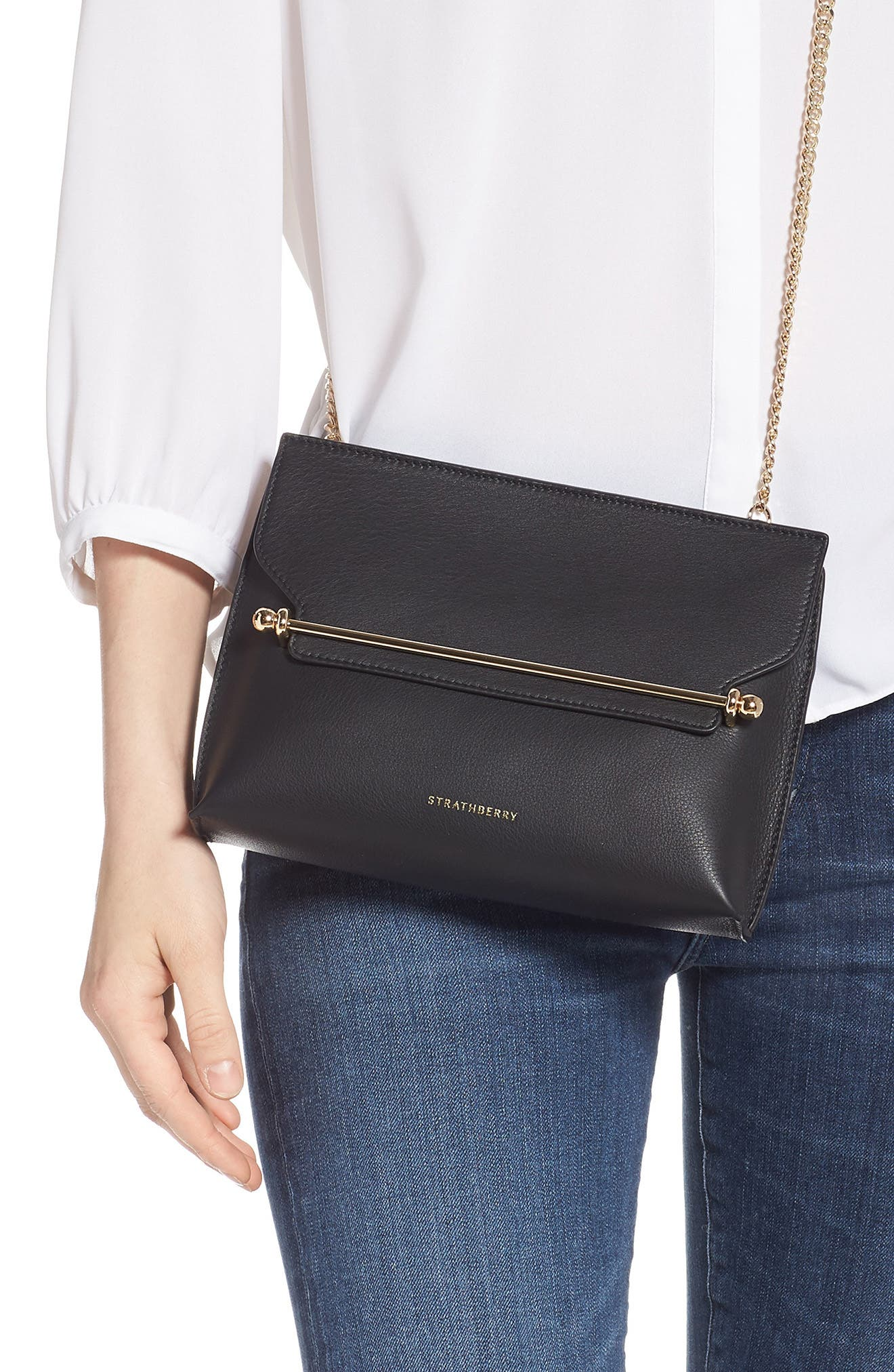 STRATHBERRY, East/West Stylist Calfskin Leather Clutch, Alternate thumbnail 2, color, BLACK