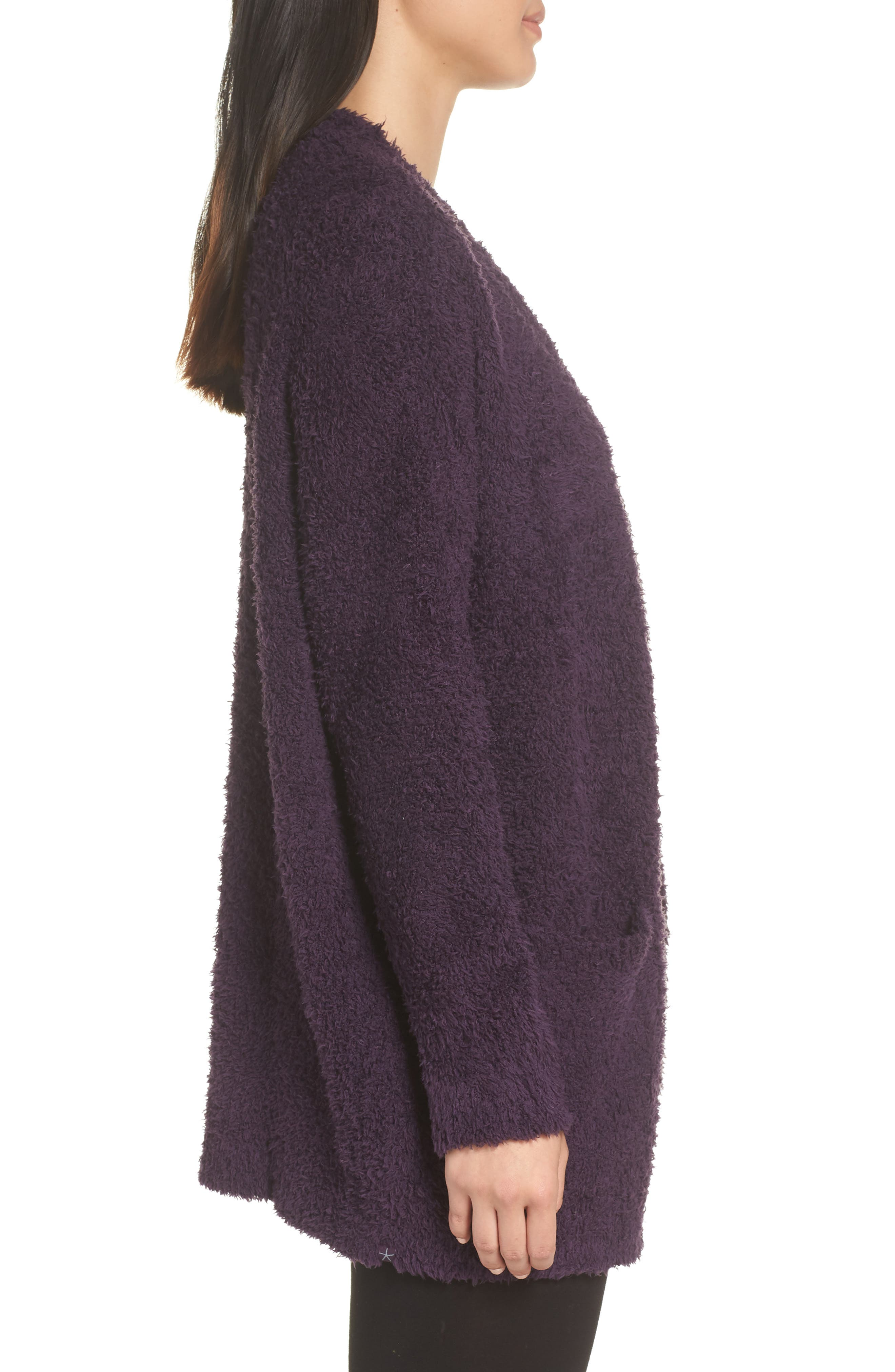 BAREFOOT DREAMS<SUP>®</SUP>, CozyChic<sup>®</sup> Cardigan, Alternate thumbnail 3, color, AMETHYST