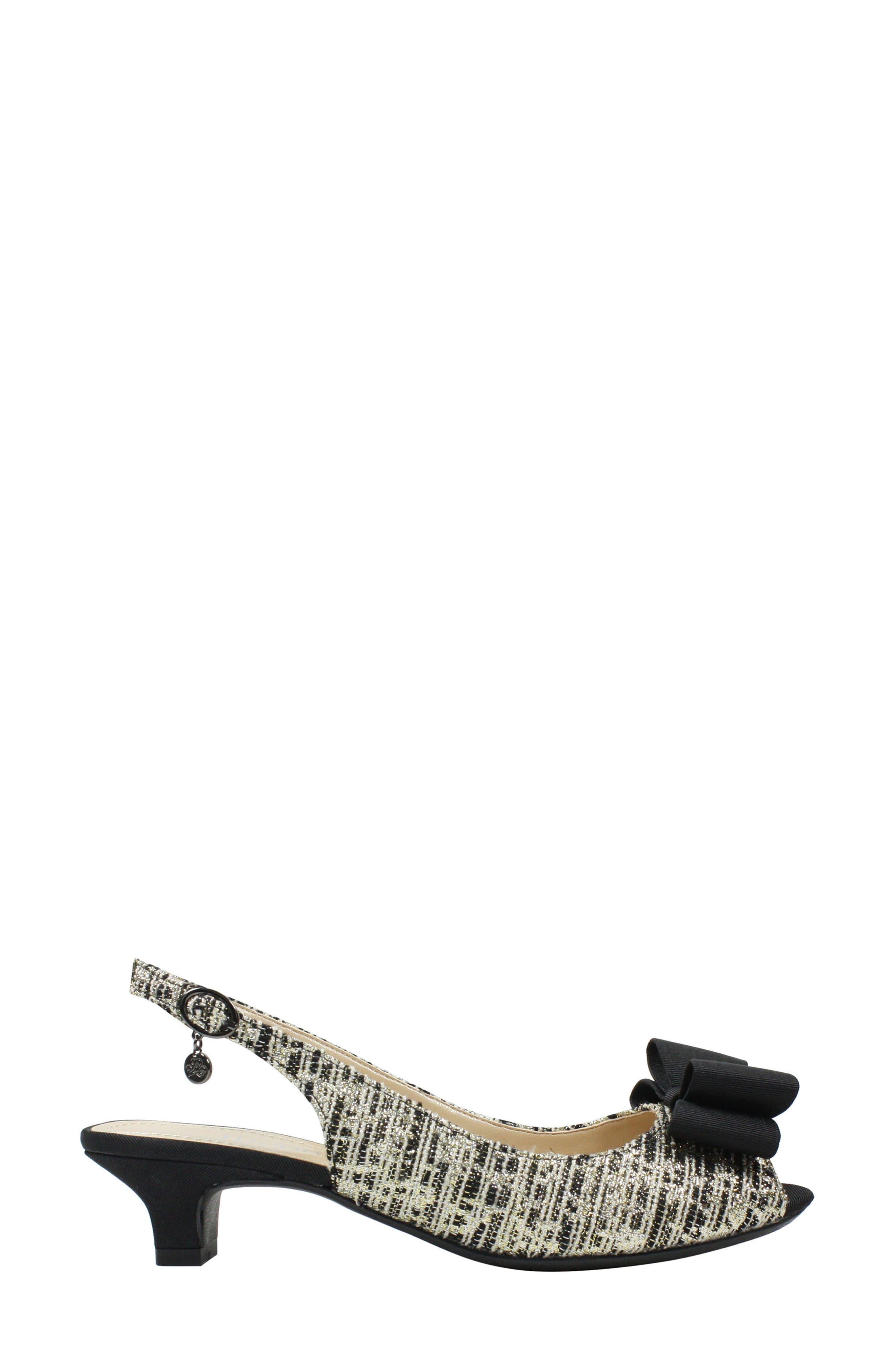 J. RENEÉ, Landan Bow Slingback Sandal, Alternate thumbnail 3, color, BLACK/ GOLD/ SILVER FABRIC