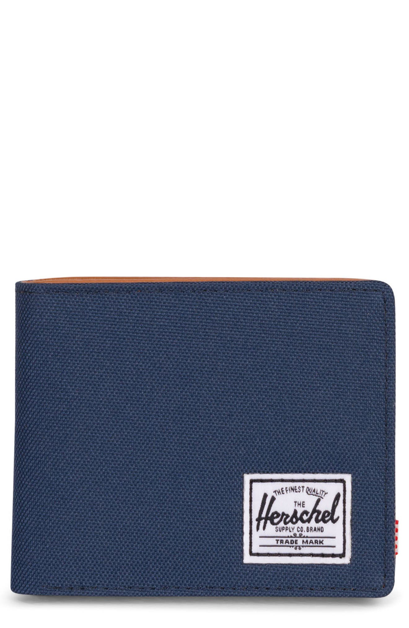 HERSCHEL SUPPLY CO. Hank RFID Bifold Wallet, Main, color, NAVY/ TAN