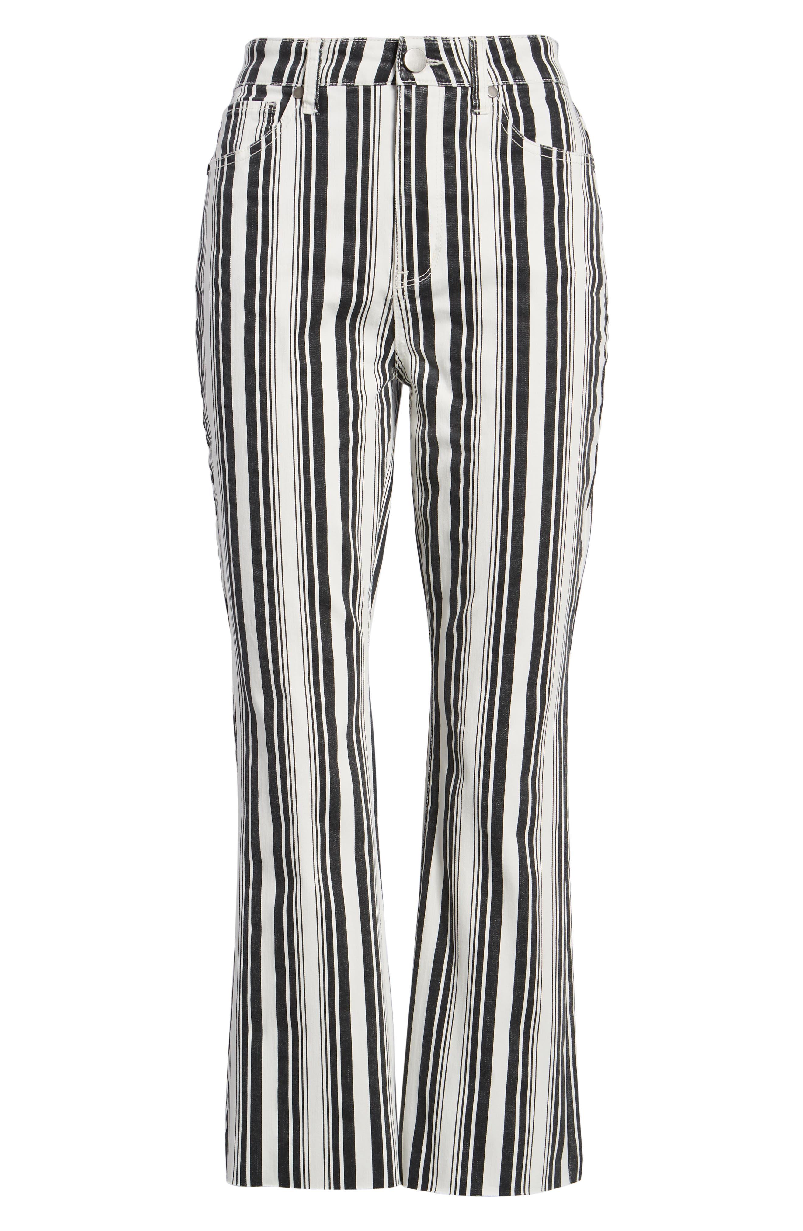 TINSEL, Stripe Crop Flare Jeans, Alternate thumbnail 7, color, WHITE BLACK