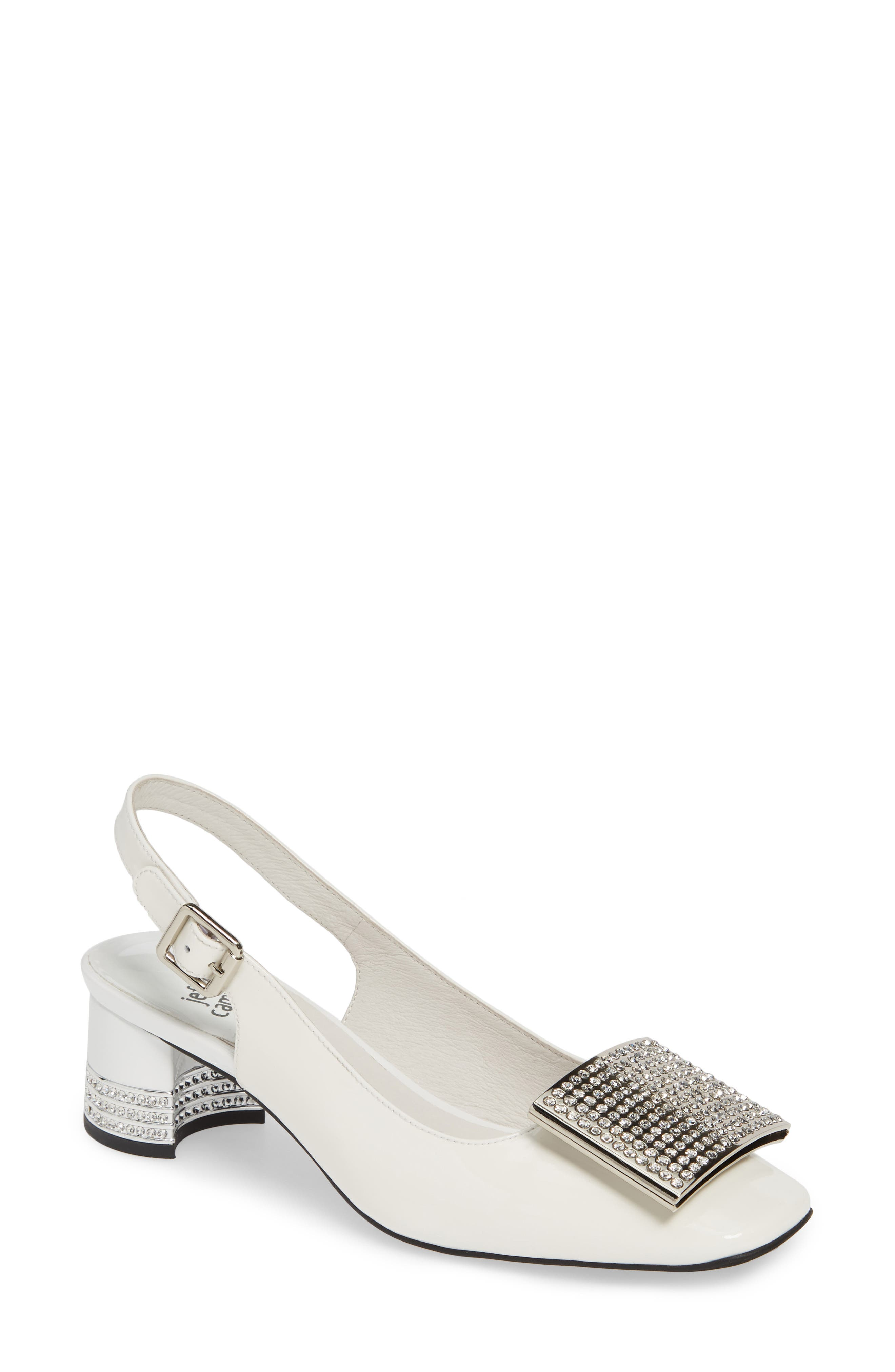 JEFFREY CAMPBELL, Billion Jewel Slingback Pump, Main thumbnail 1, color, WHITE PATENT LEATHER/ SILVER
