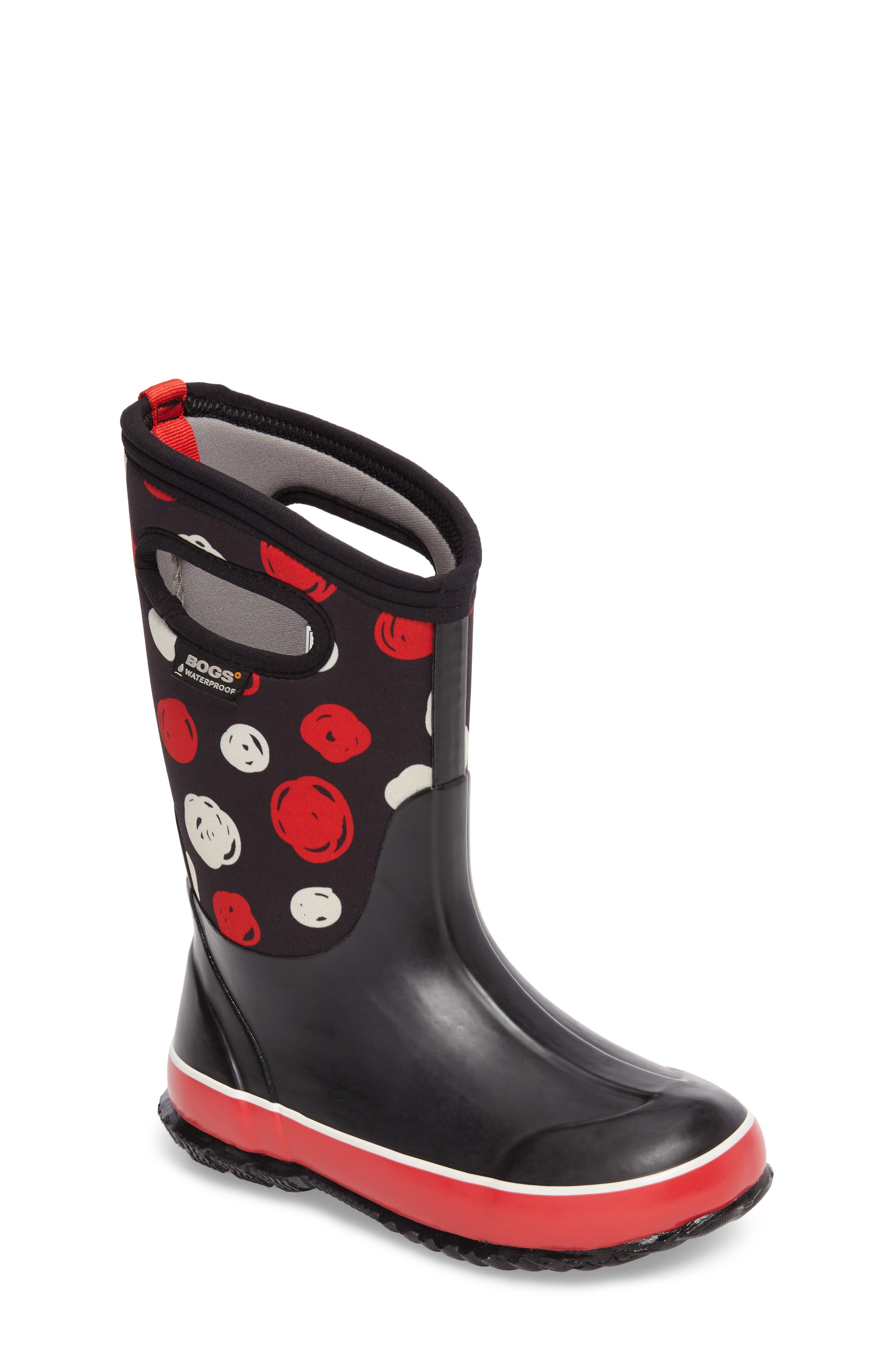 BOGS Classic Sketched Dots Insulated Waterproof Boot, Main, color, BLACK MULTI