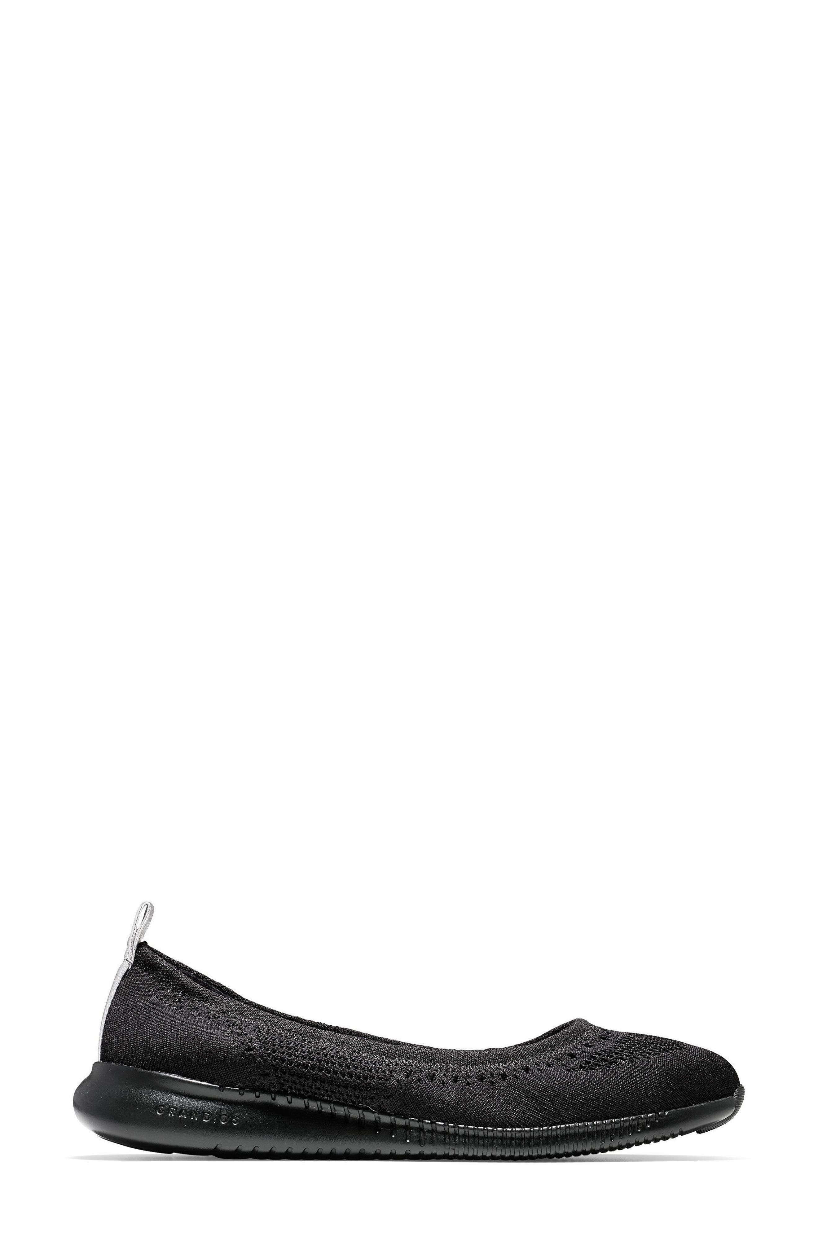 COLE HAAN, 2.ZERØGRAND Stitchlite Ballet Flat, Alternate thumbnail 3, color, BLACK FABRIC