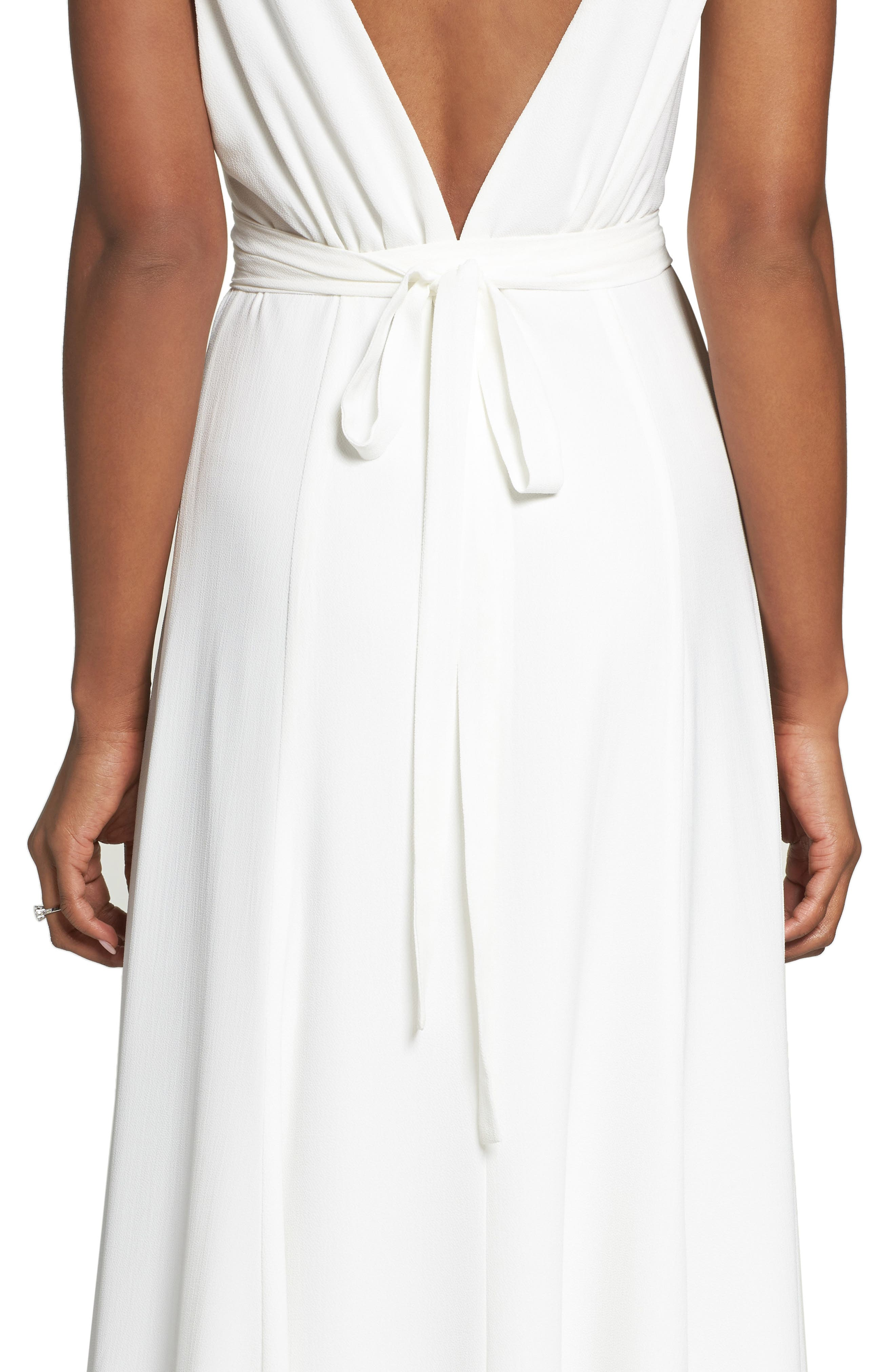 JOANNA AUGUST, Jagger Plunging Wrap Dress, Alternate thumbnail 4, color, WHITE
