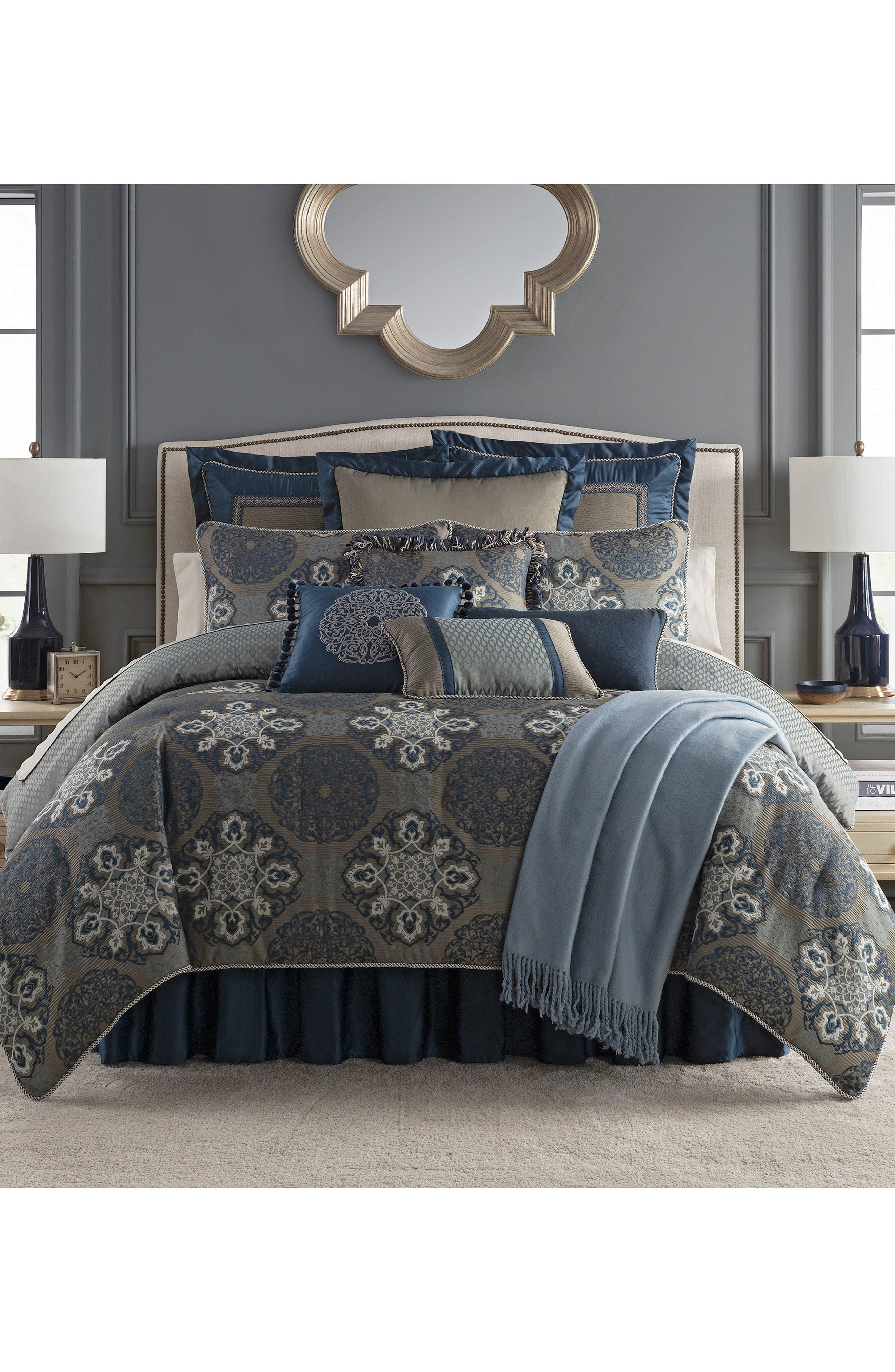 WATERFORD, Jonet Reversible Comforter, Sham & Bedskirt Set, Main thumbnail 1, color, INDIGO