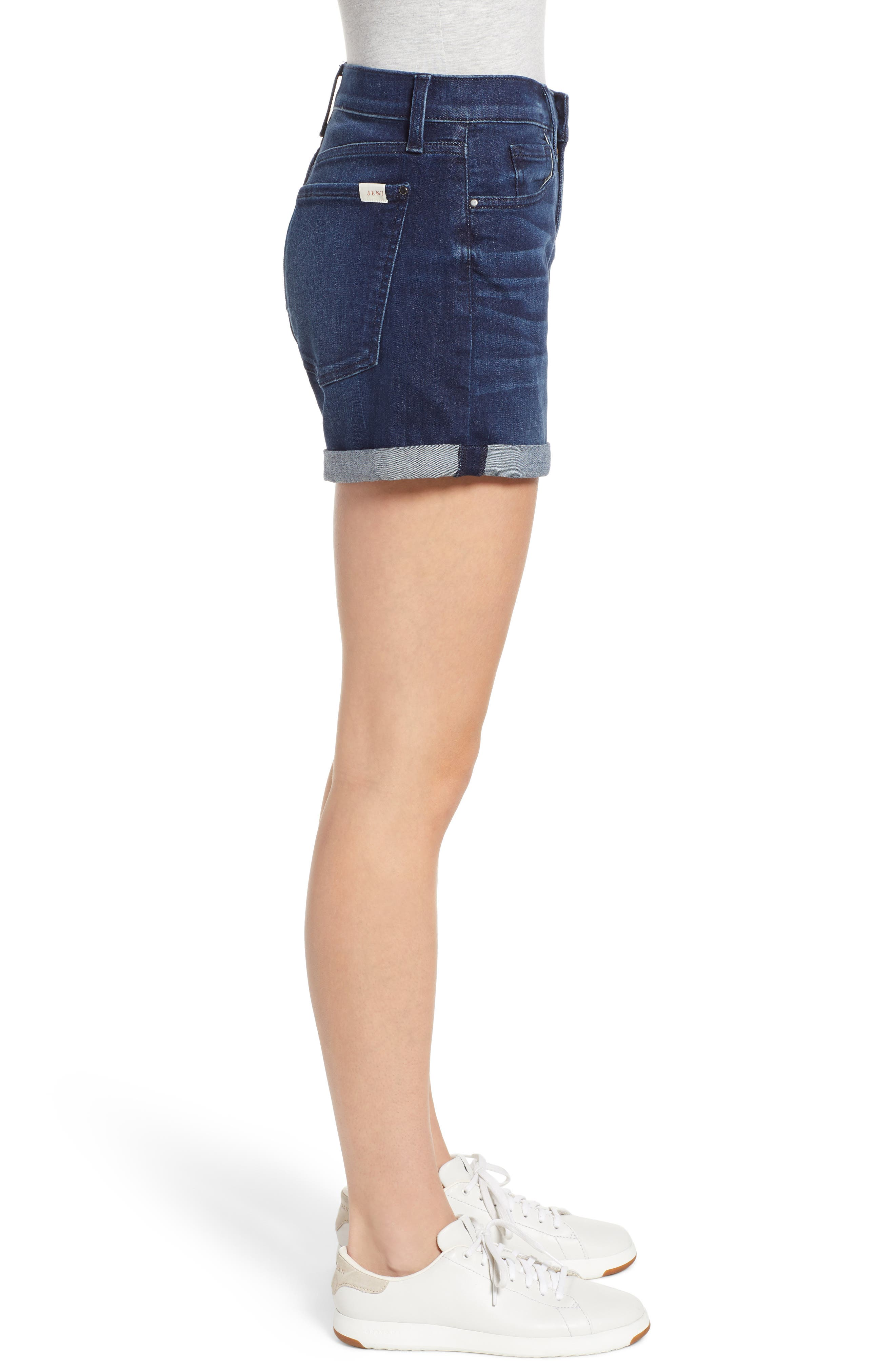 JEN7 BY 7 FOR ALL MANKIND, Roll Cuff Denim Shorts, Alternate thumbnail 3, color, IMPERIAL INDIGO