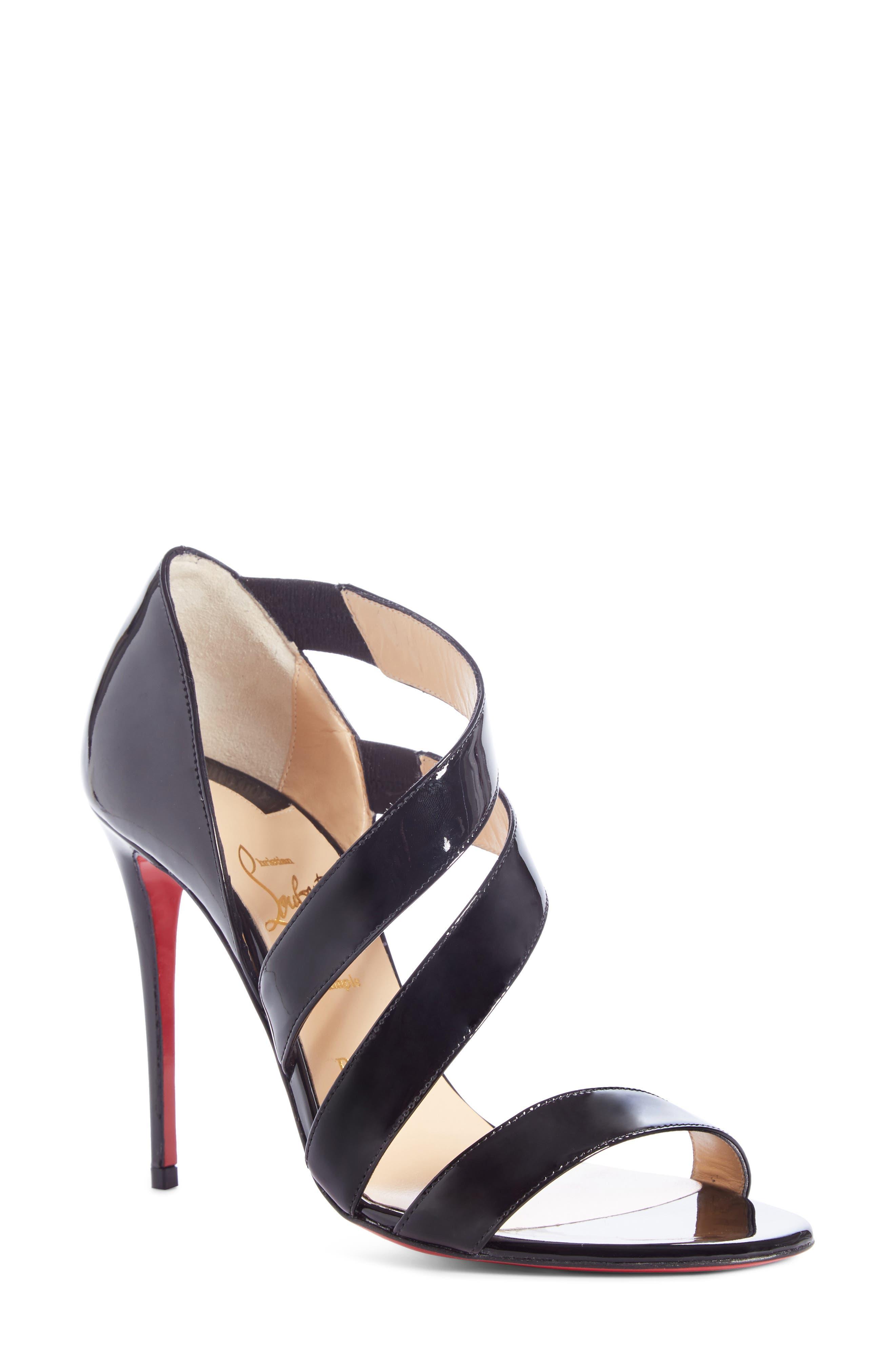 CHRISTIAN LOUBOUTIN, World Copine Asymmetrical Sandal, Main thumbnail 1, color, BLACK PATENT