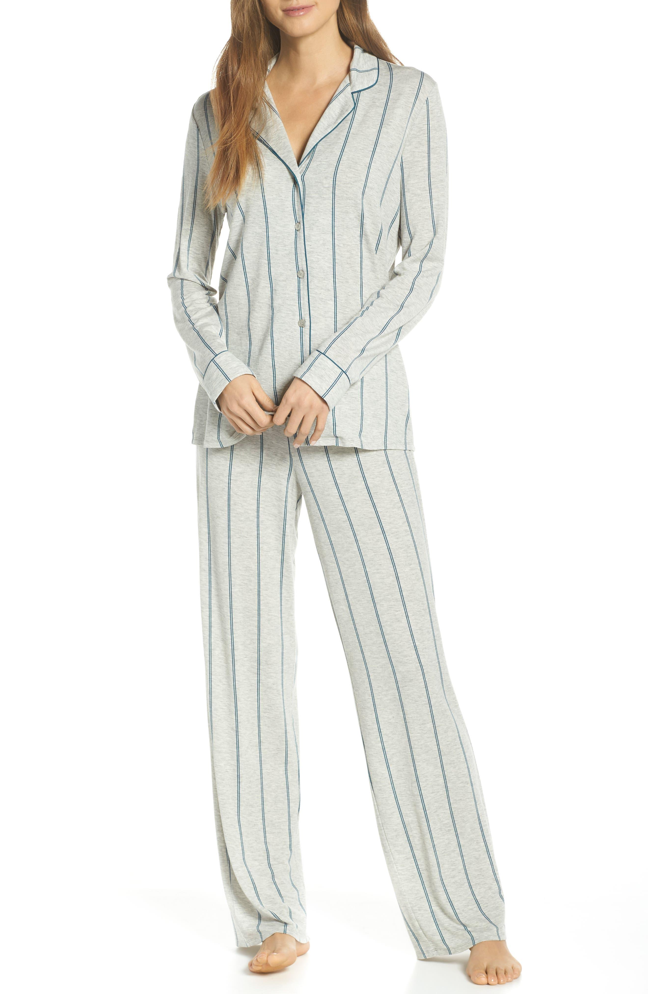 NORDSTROM LINGERIE Moonlight Pajamas, Main, color, GREY PEARL HEATHER MICROSTRIPE