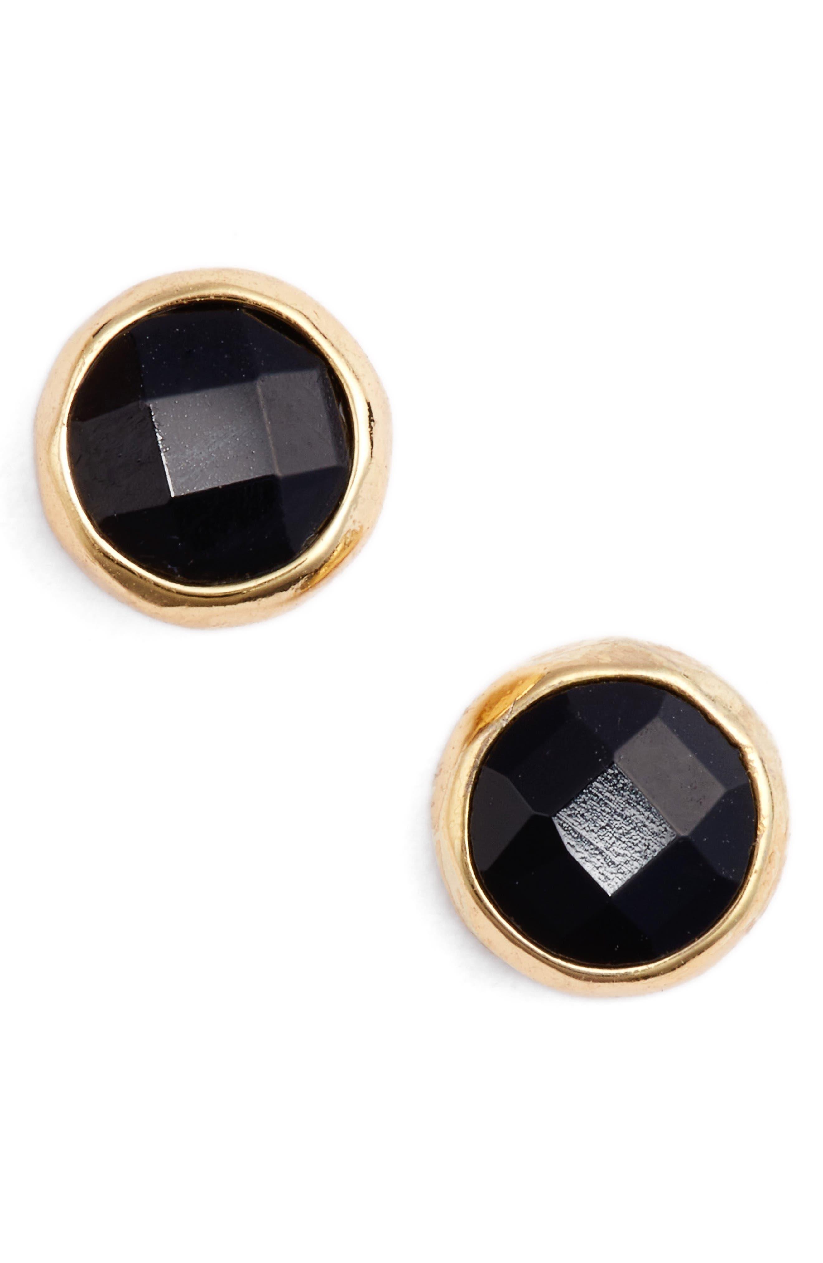 GORJANA, Protection Stud Earrings, Main thumbnail 1, color, PROTECTION/ BLACK ONYX/ GOLD
