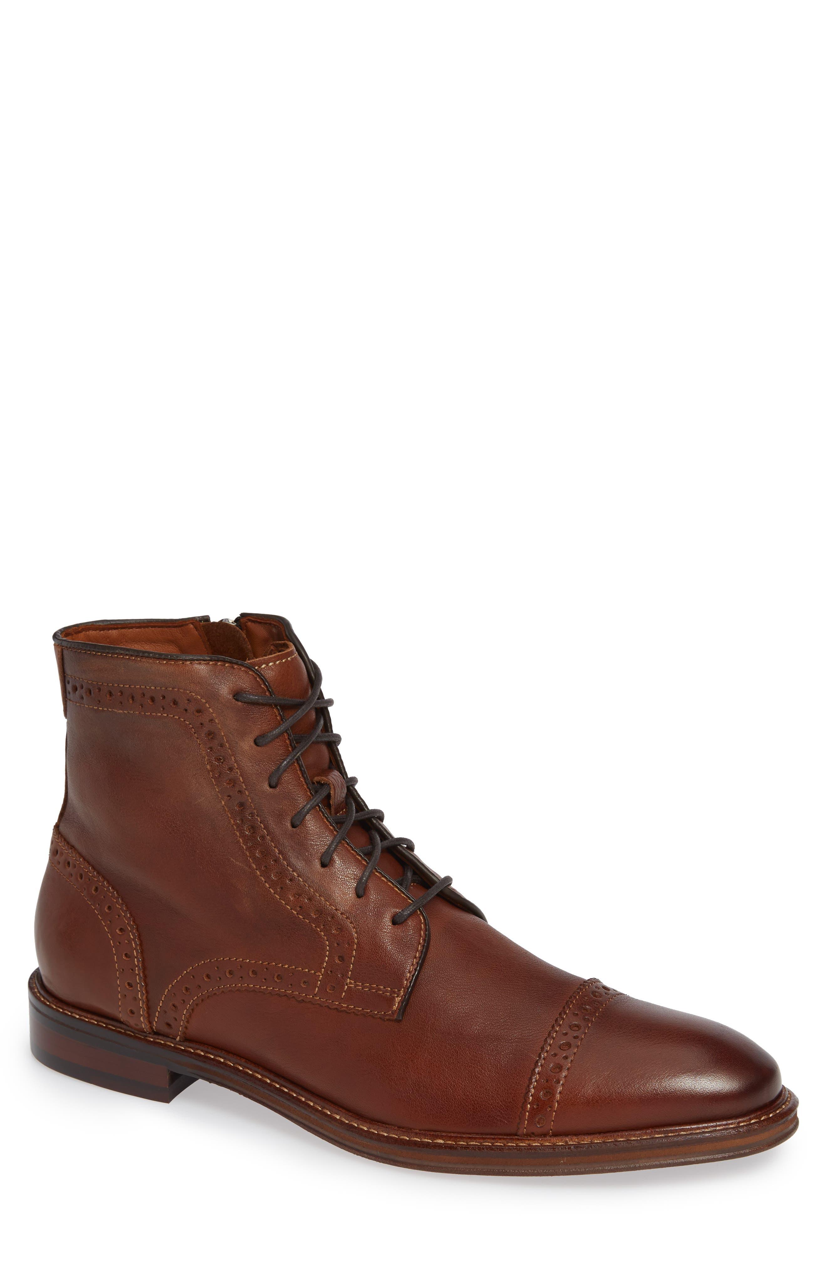 JOHNSTON & MURPHY Warner Cap Toe Boot, Main, color, DARK TAN LEATHER