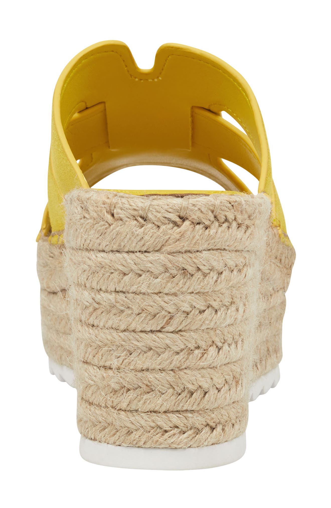 MARC FISHER LTD, Robbyn Espadrille Wedge Sandal, Alternate thumbnail 6, color, YELLOW SUEDE