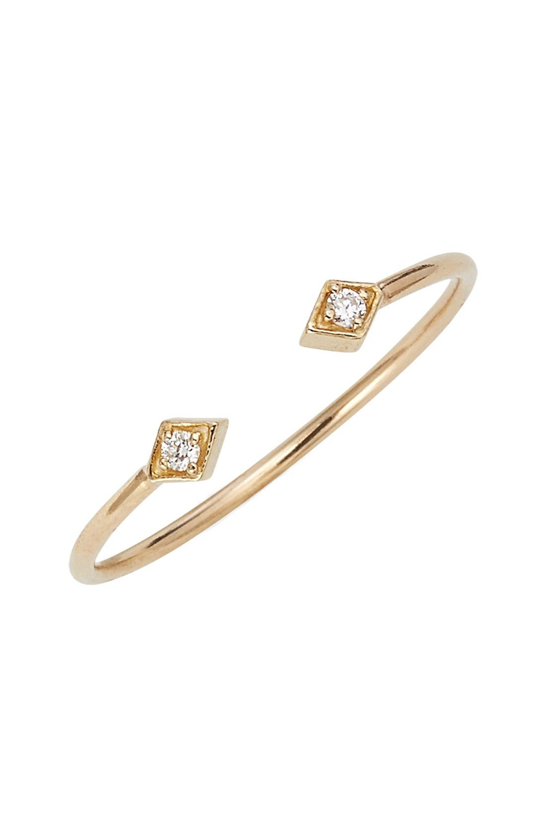 ZOË CHICCO, Open Diamond Ring, Main thumbnail 1, color, YELLOW GOLD