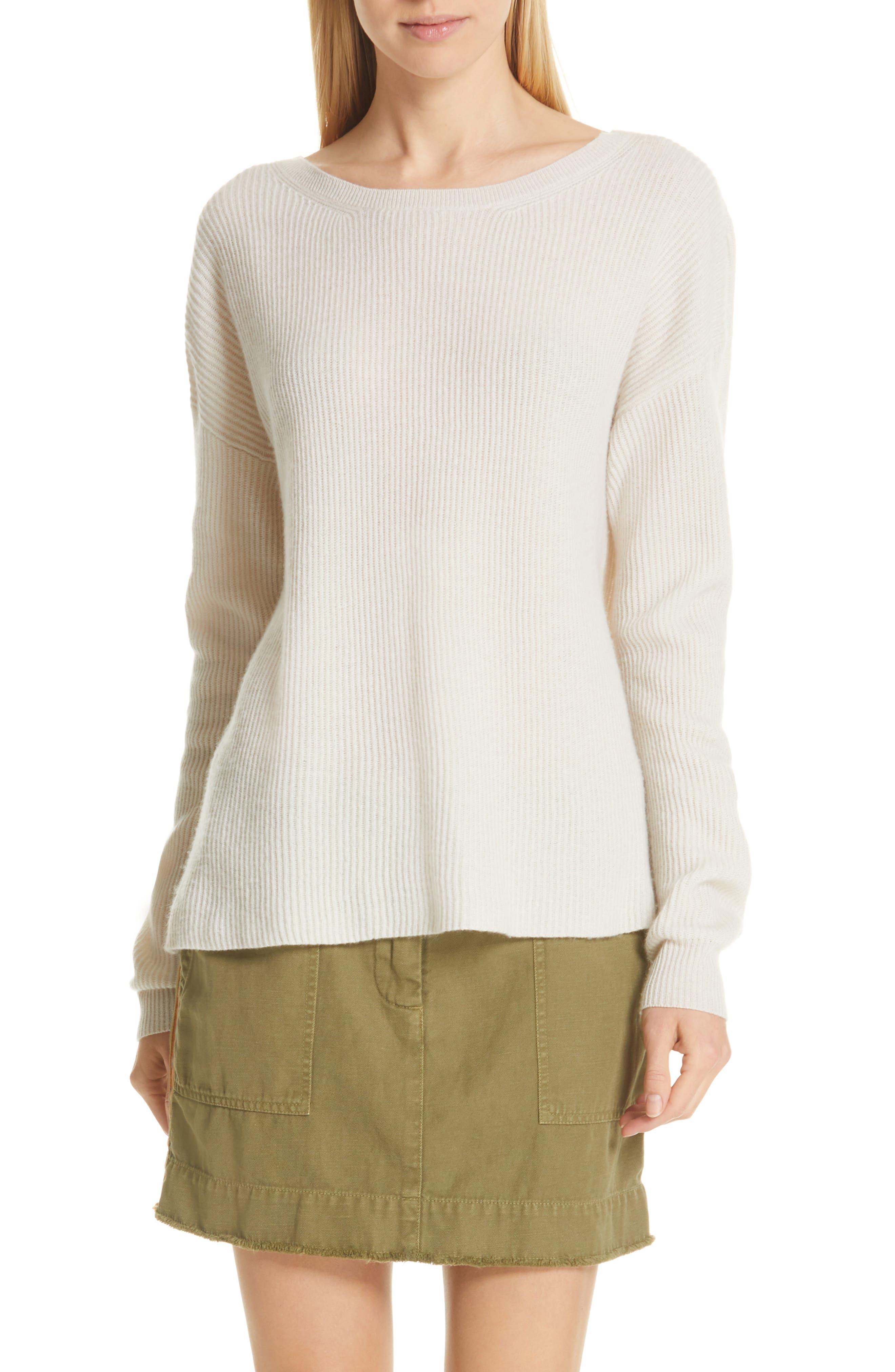 NILI LOTAN, Hadis Cashmere Sweater, Main thumbnail 1, color, IVORY