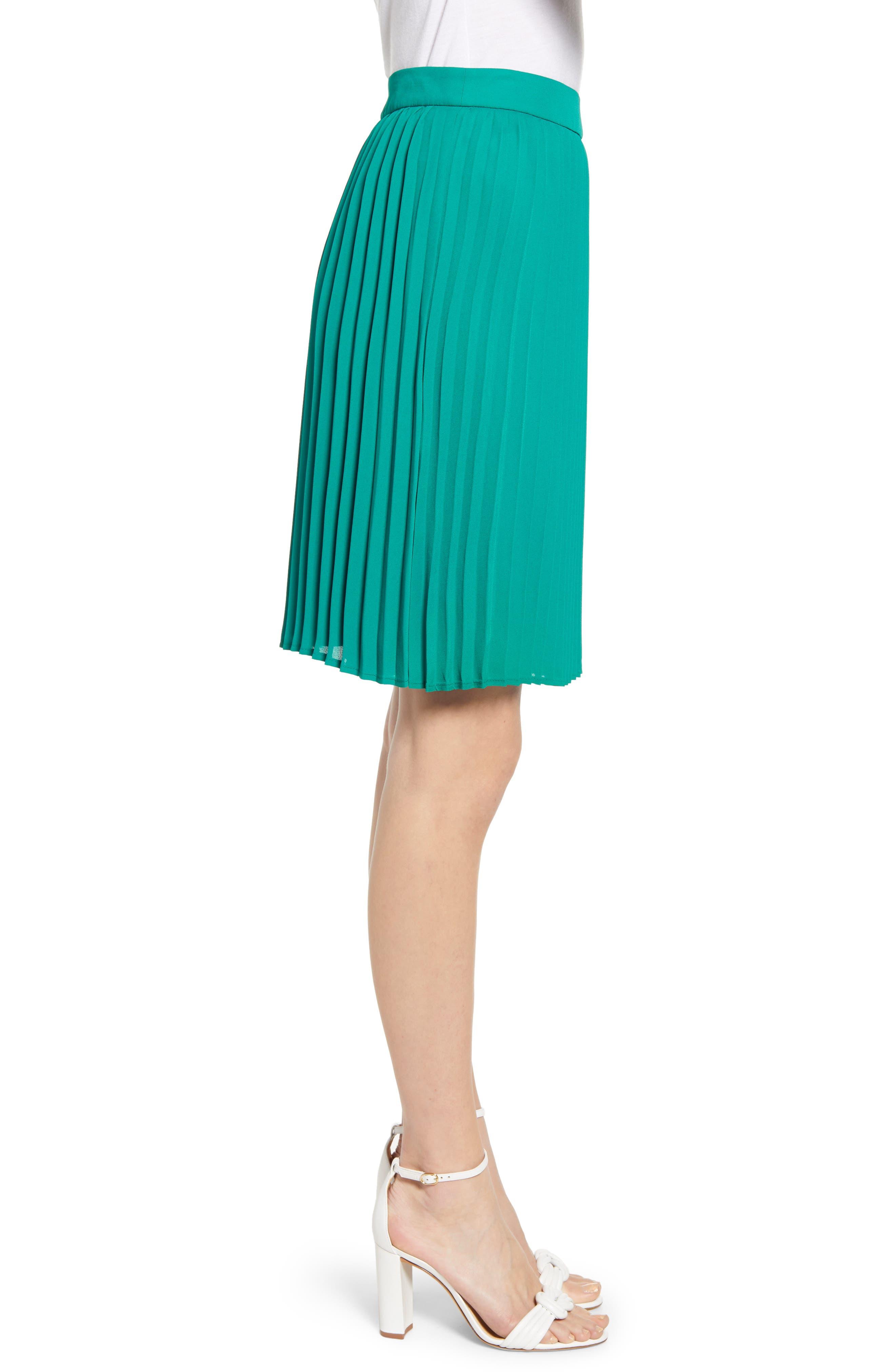 GIBSON, x International Women's Day Thamarr Pleated Skirt, Alternate thumbnail 3, color, GREEN