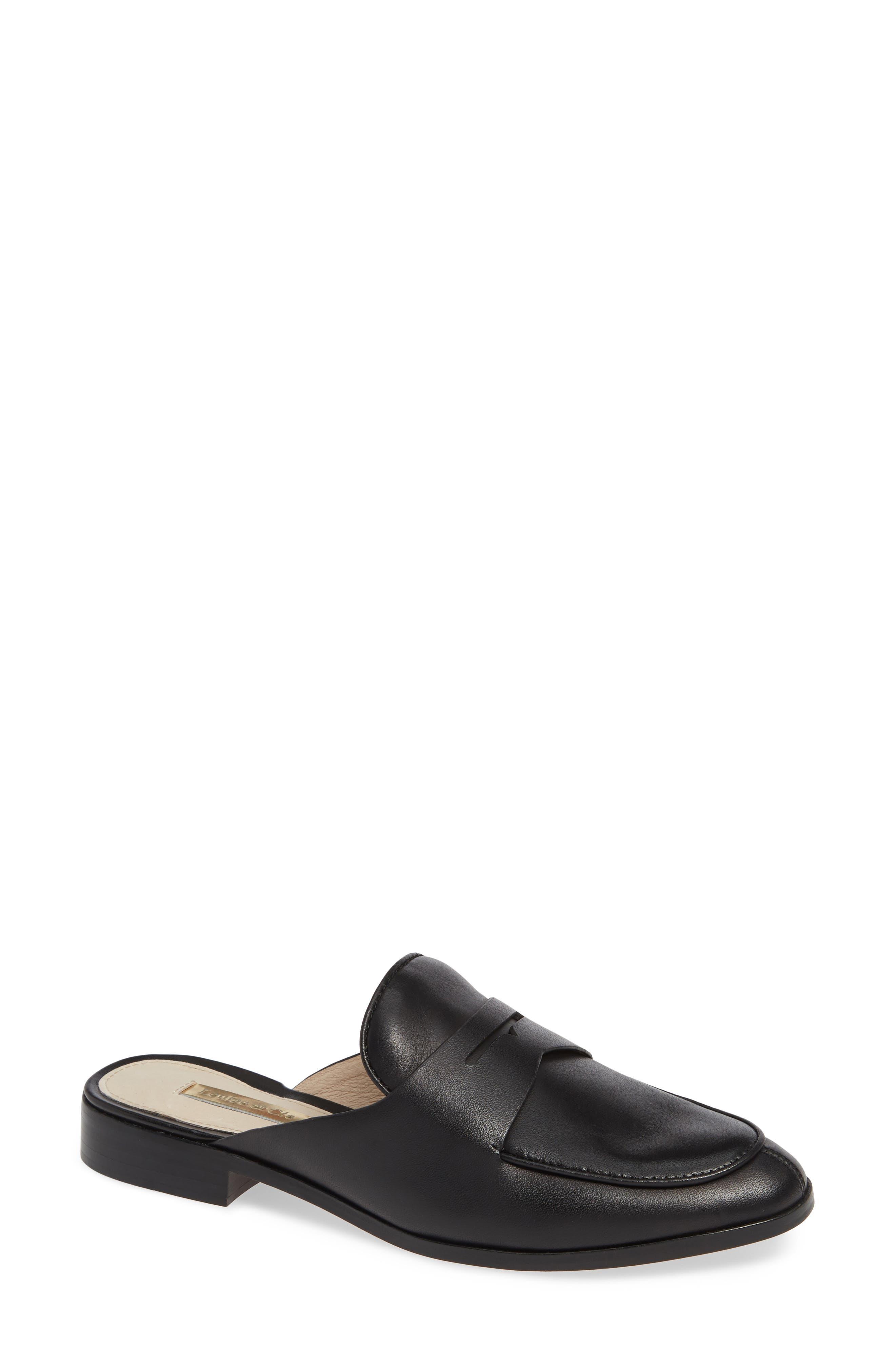 LOUISE ET CIE, Dugan Flat Loafer Mule, Main thumbnail 1, color, BLACK/BLACK LEATHER