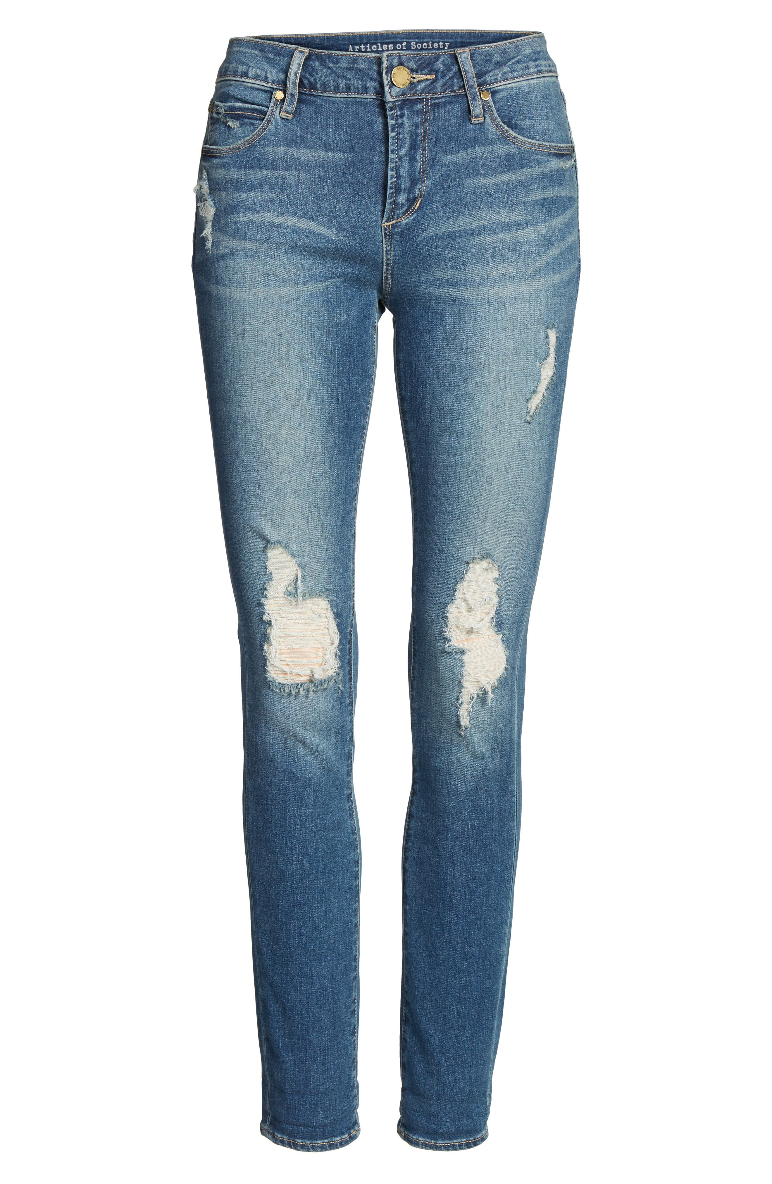 ARTICLES OF SOCIETY, Karen Ripped Crop Skinny Jeans, Alternate thumbnail 6, color, 400