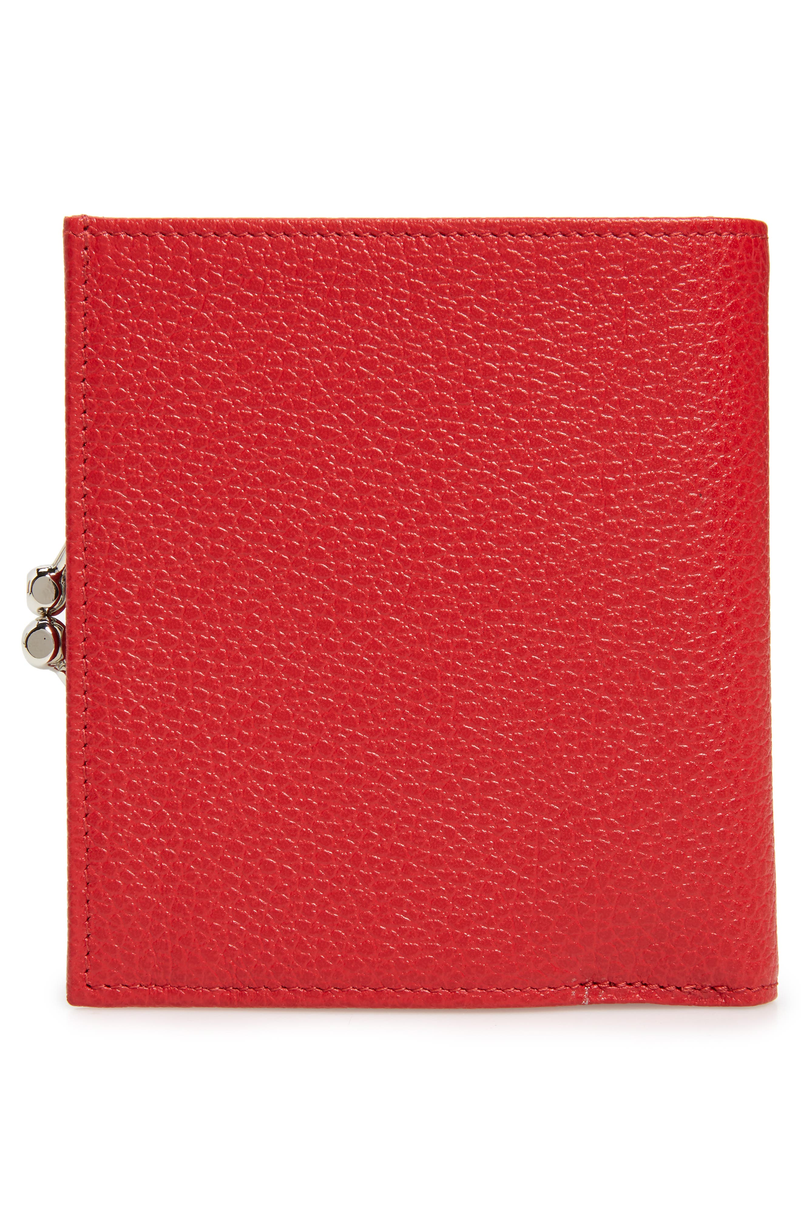 LONGCHAMP, 'Le Foulonne' Pebbled Leather Wallet, Alternate thumbnail 4, color, RED ORANGE