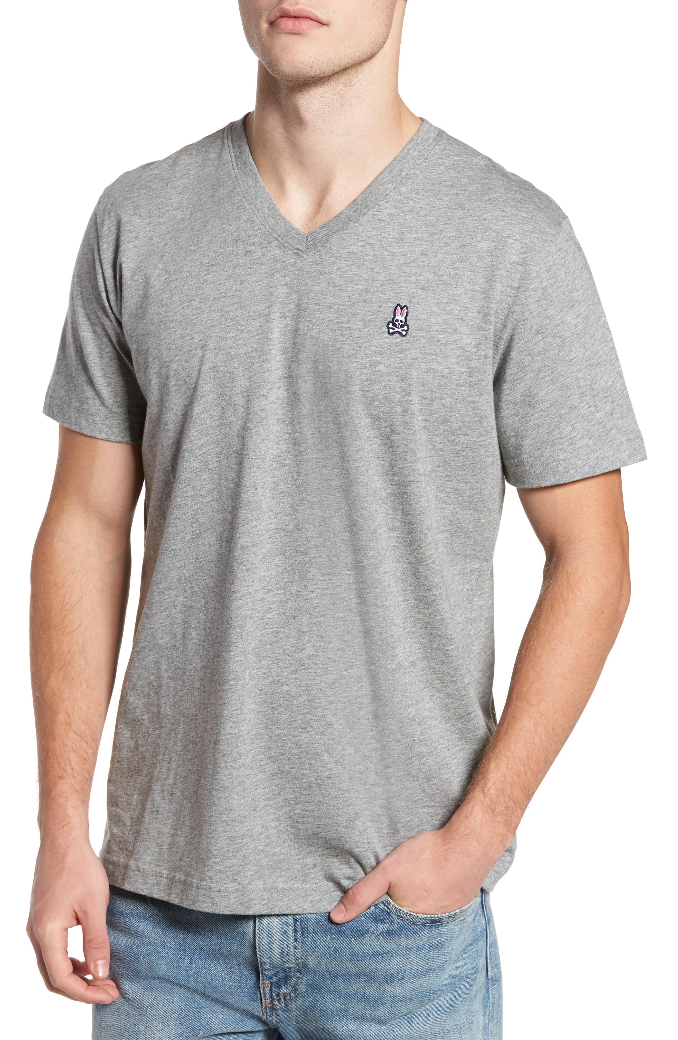 PSYCHO BUNNY, Classic V-Neck T-Shirt, Main thumbnail 1, color, HEATHER GREY