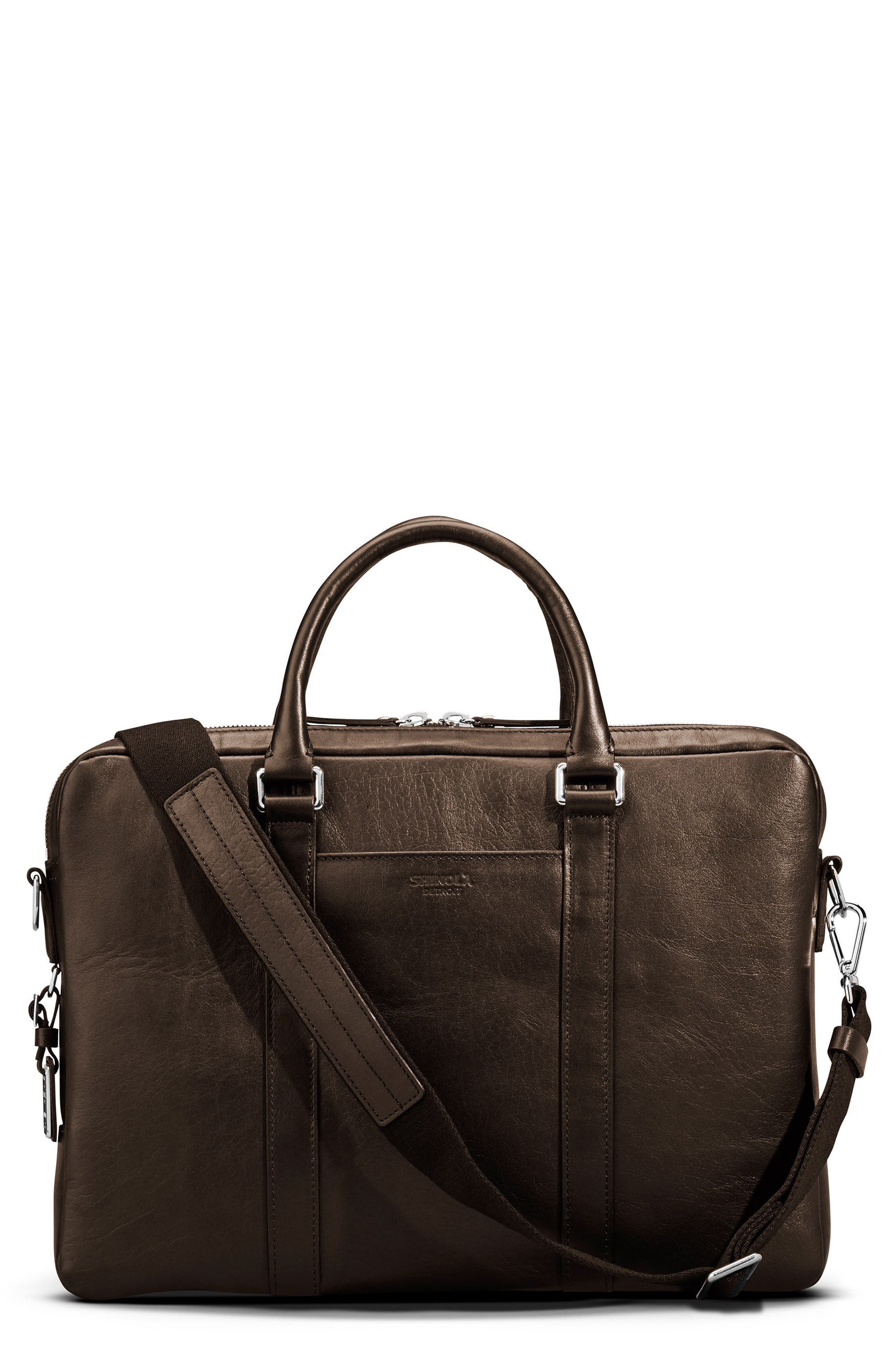 SHINOLA, Signature Leather Computer Briefcase, Main thumbnail 1, color, DEEP BROWN