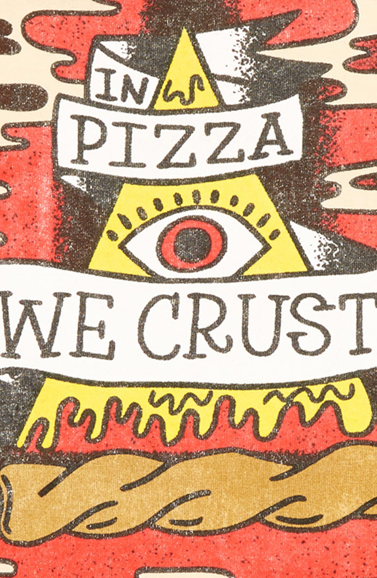 ROCK YOUR KID, In Pizza We Crust T-Shirt, Alternate thumbnail 3, color, OATMEAL