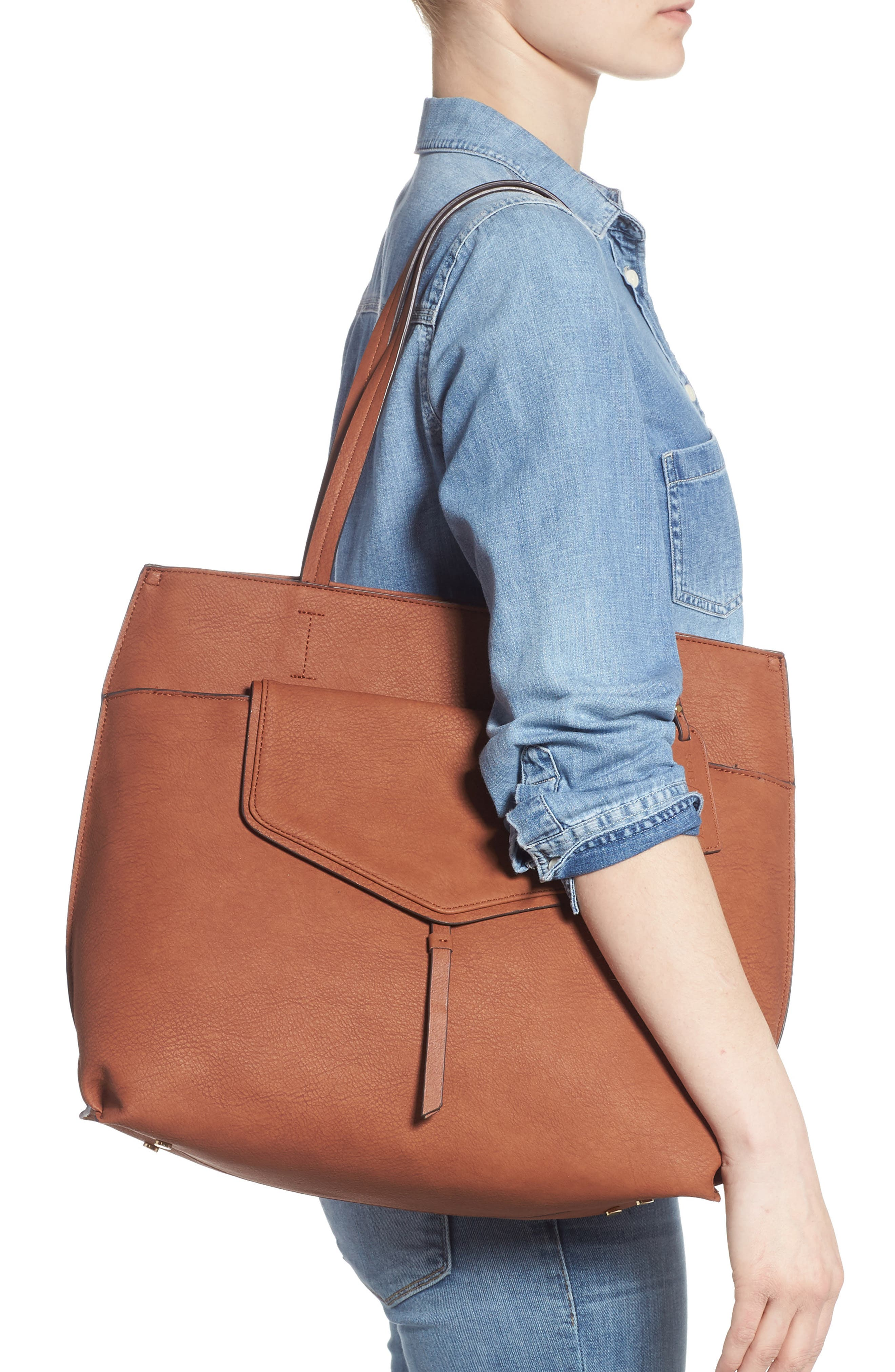 SOLE SOCIETY, Lyndi Faux Leather Tote, Alternate thumbnail 2, color, COGNAC