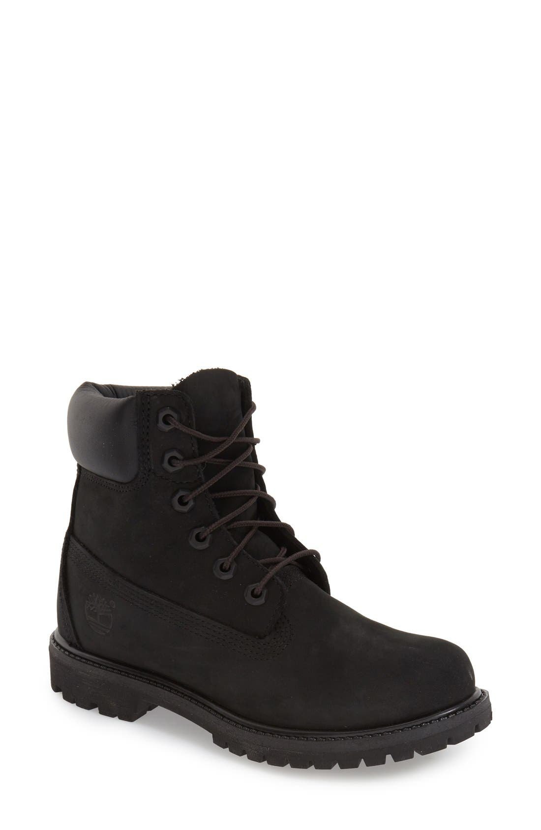TIMBERLAND, 6 Inch Premium Waterproof Boot, Main thumbnail 1, color, BLACK NUBUCK LEATHER