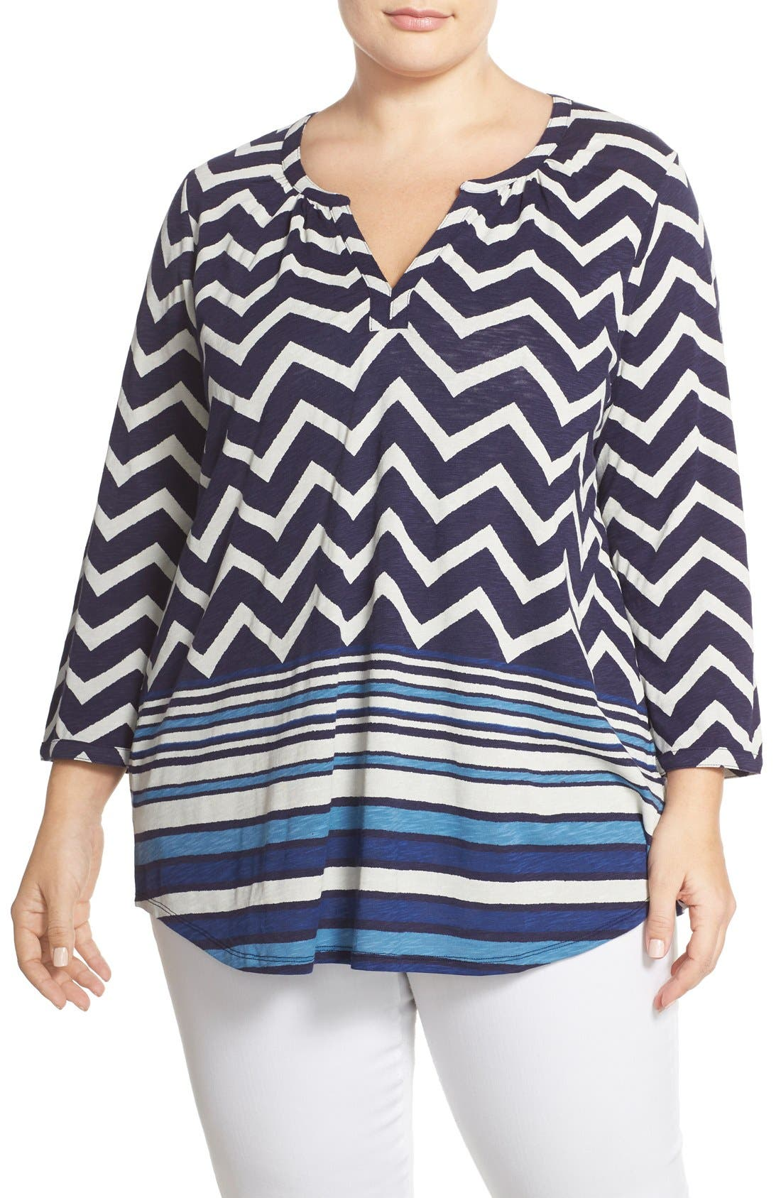 LUCKY BRAND, Chevron Stripe Split Neck Top, Main thumbnail 1, color, 400