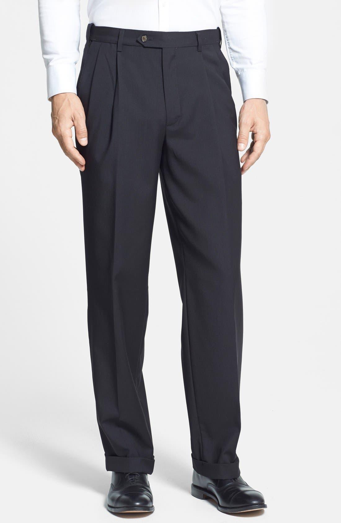 BERLE, Self Sizer Waist Pleated Trousers, Main thumbnail 1, color, BLACK