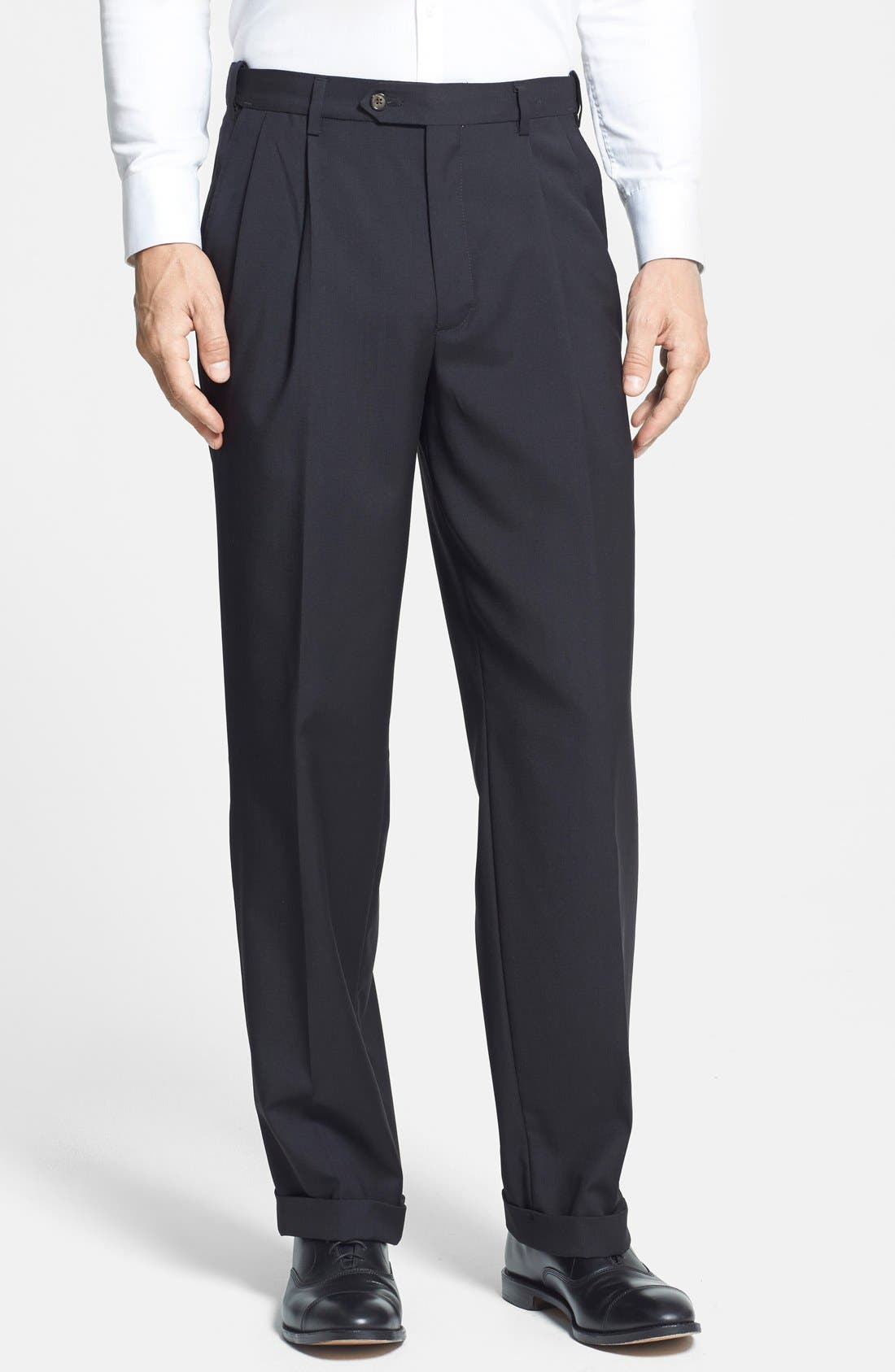 BERLE Self Sizer Waist Pleated Trousers, Main, color, BLACK
