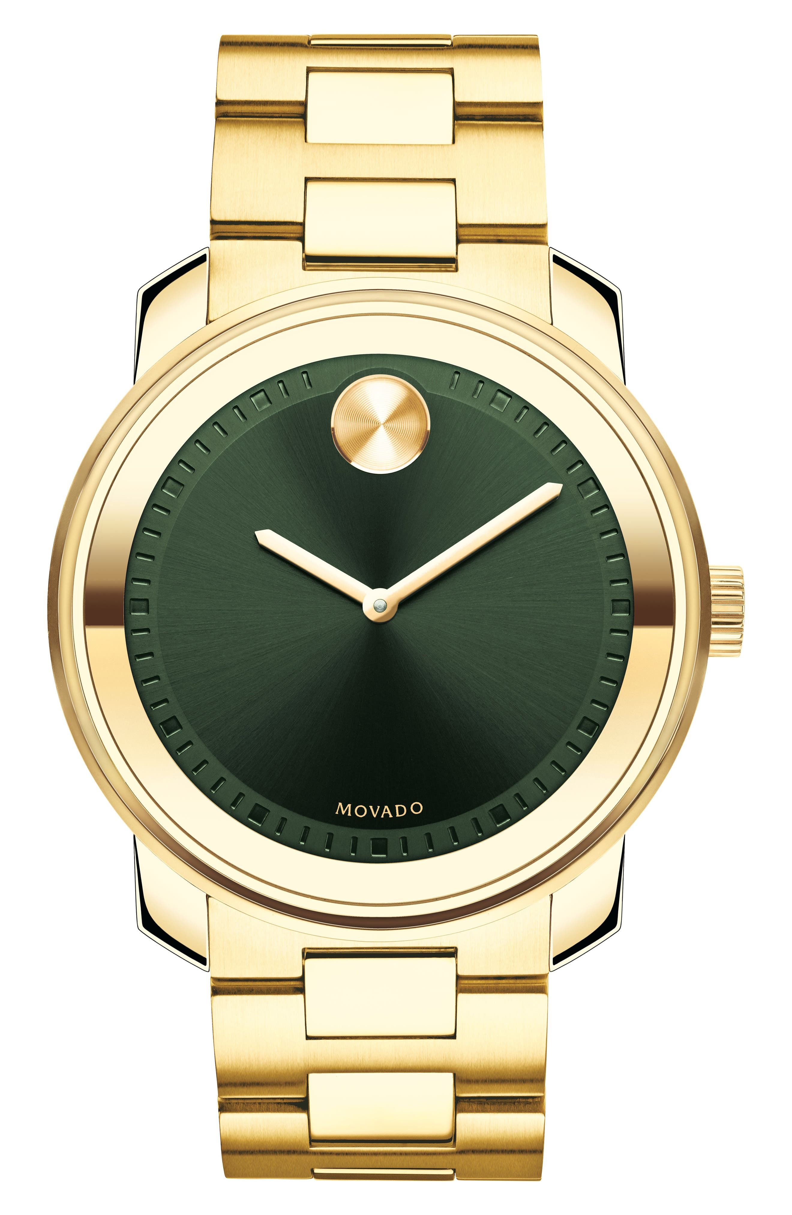 MOVADO, 'Bold' Bracelet Watch, 43mm, Main thumbnail 1, color, GOLD/ GREEN/ GOLD