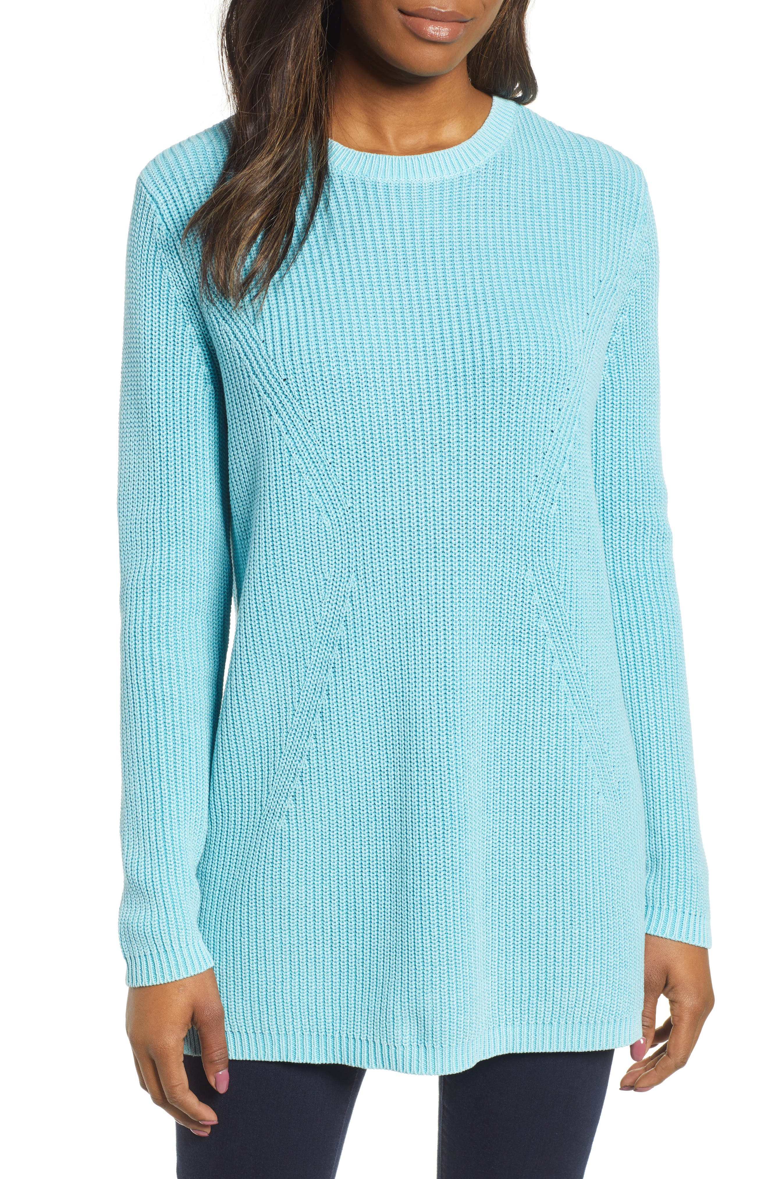 CASLON<SUP>®</SUP> Tie Back Tunic Sweater, Main, color, BLUE MAUI