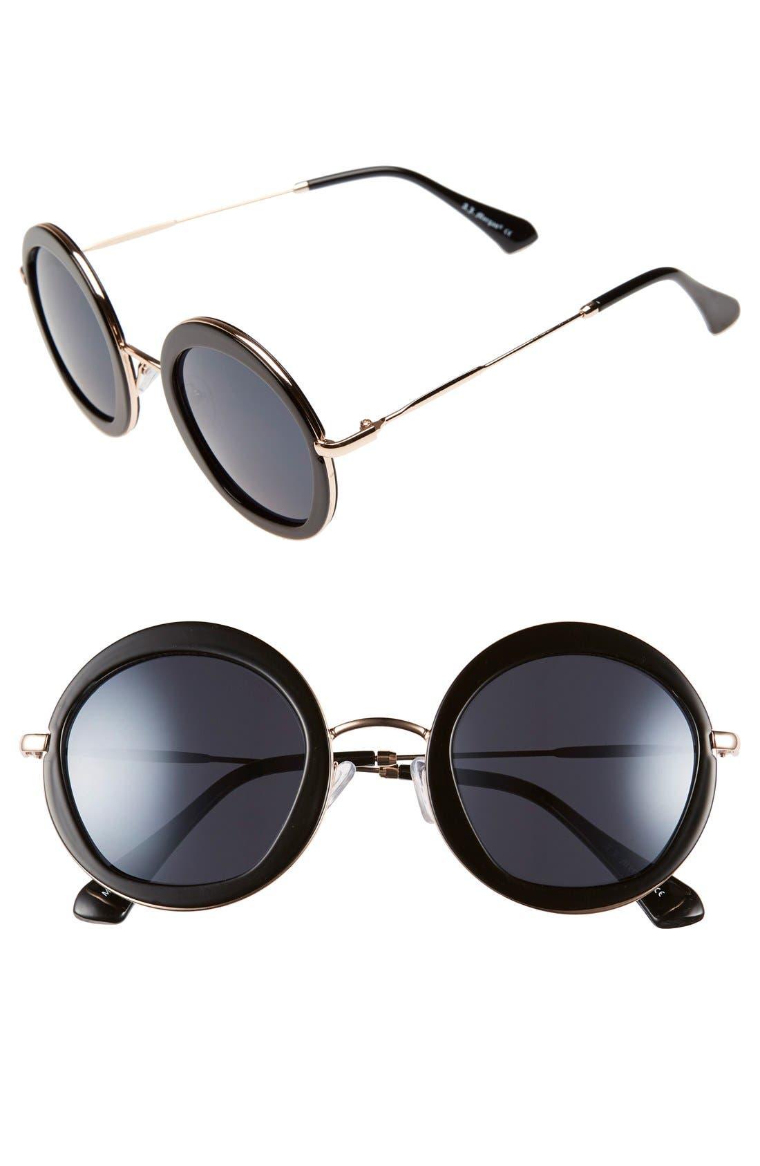 A.J. MORGAN 'Clique' 50mm Round Sunglasses, Main, color, 001