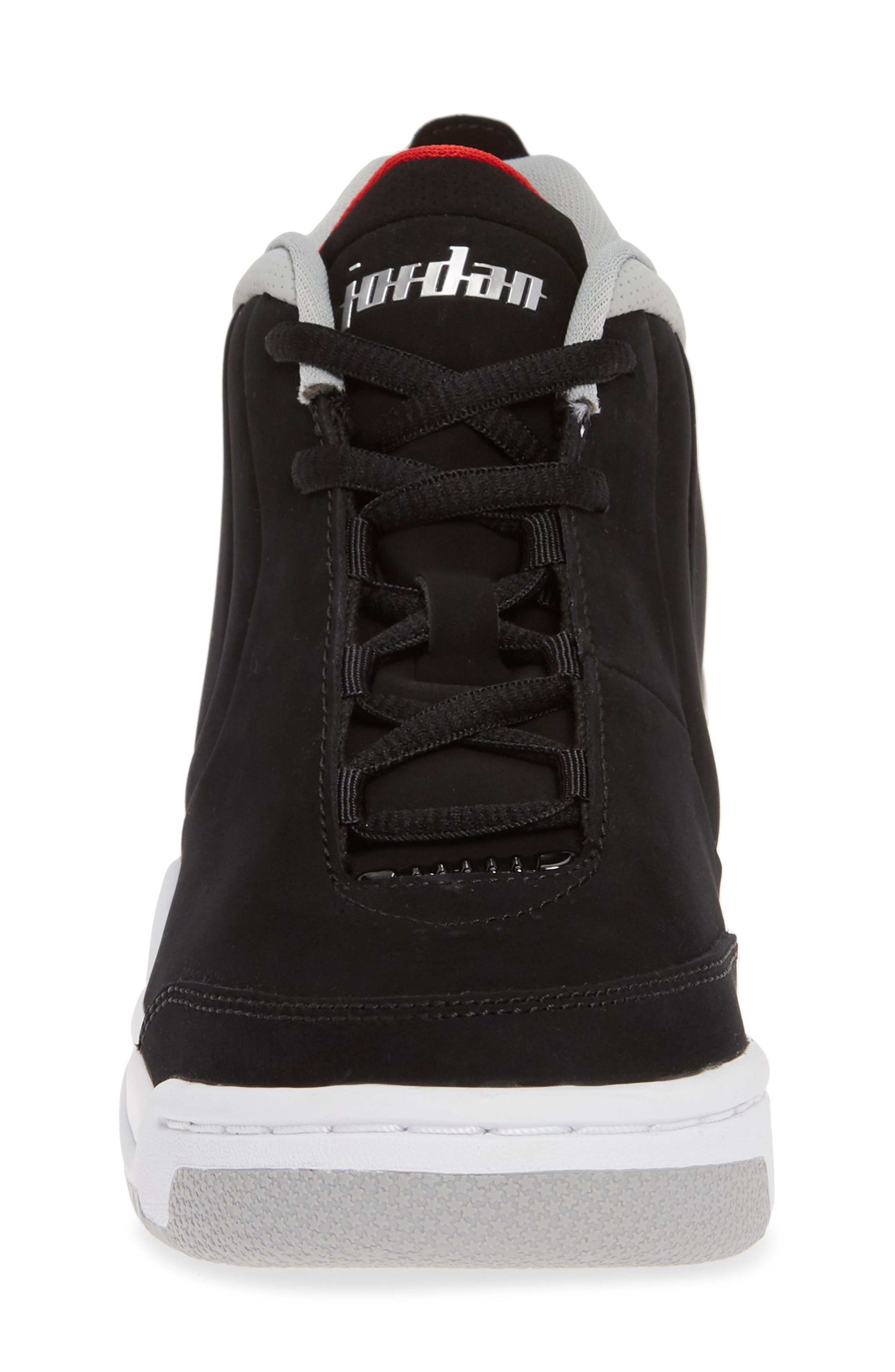 JORDAN, Big Fund Mid Top Basketball Sneaker, Alternate thumbnail 4, color, BLACK/ METALLIC SILVER-WHITE