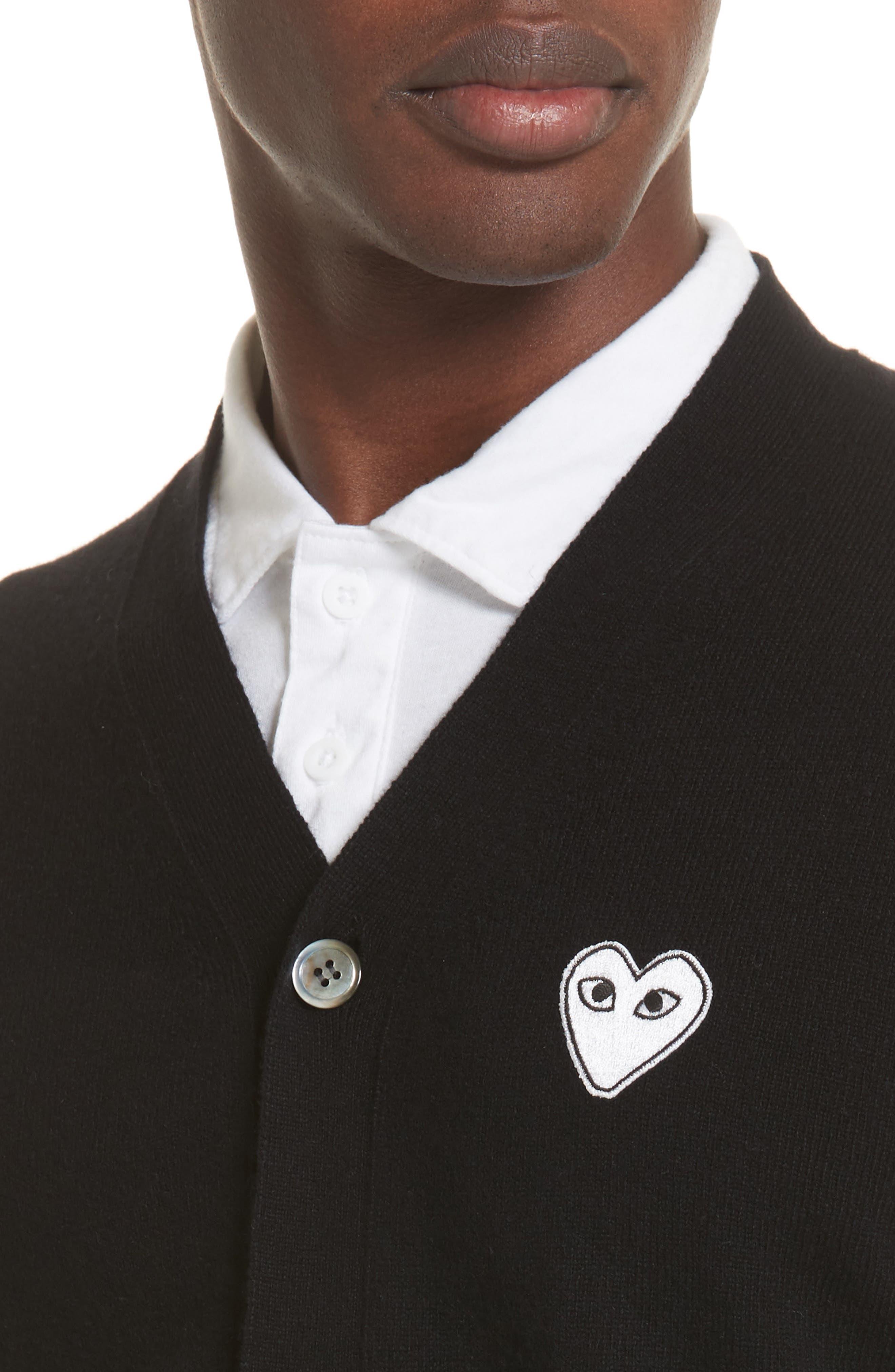 COMME DES GARÇONS PLAY, White Heart Wool Cardigan, Alternate thumbnail 4, color, 001