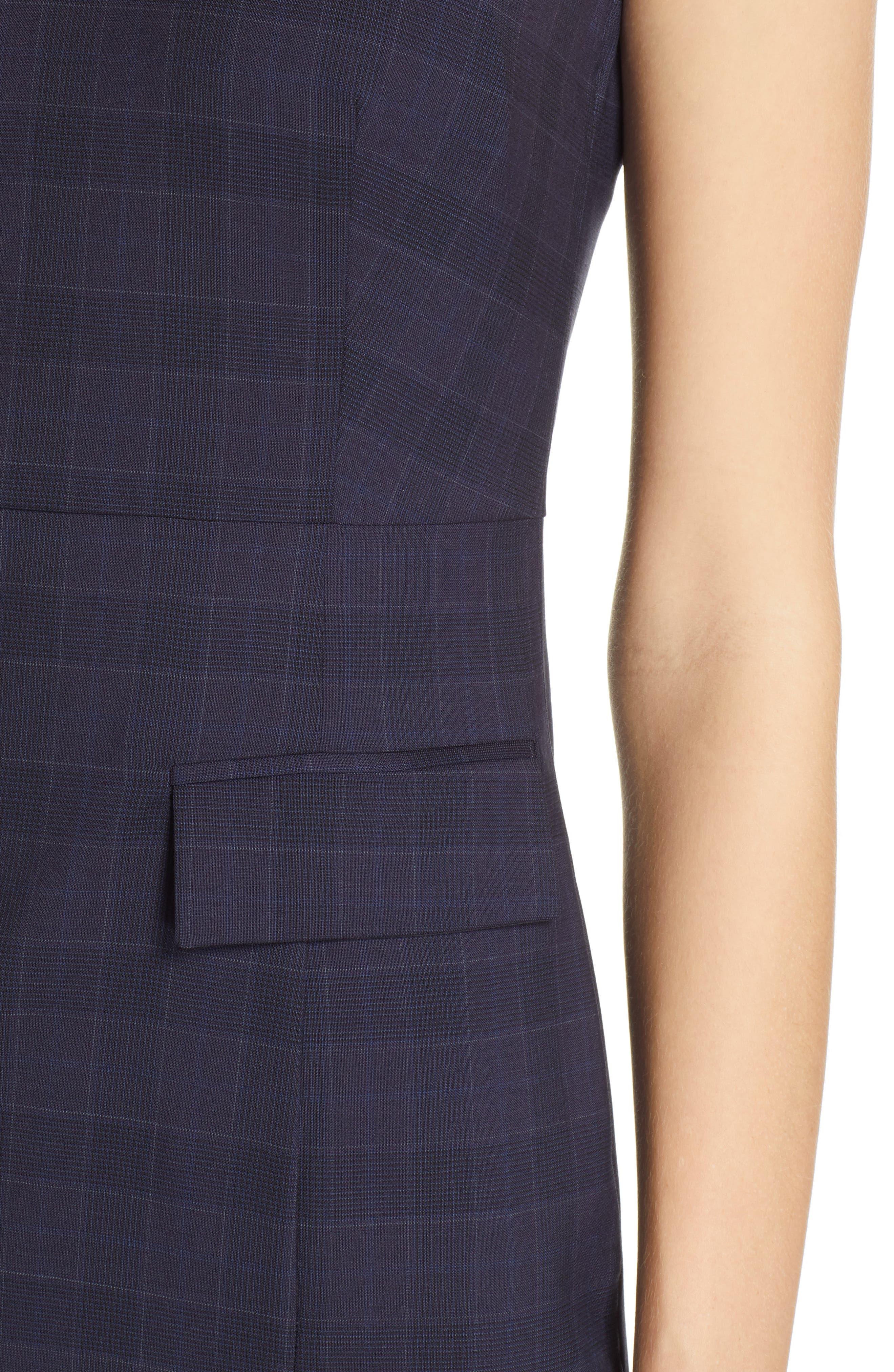 BOSS, Docanes Modern Check Wool Dress, Alternate thumbnail 5, color, DARK NAVY FANTASY