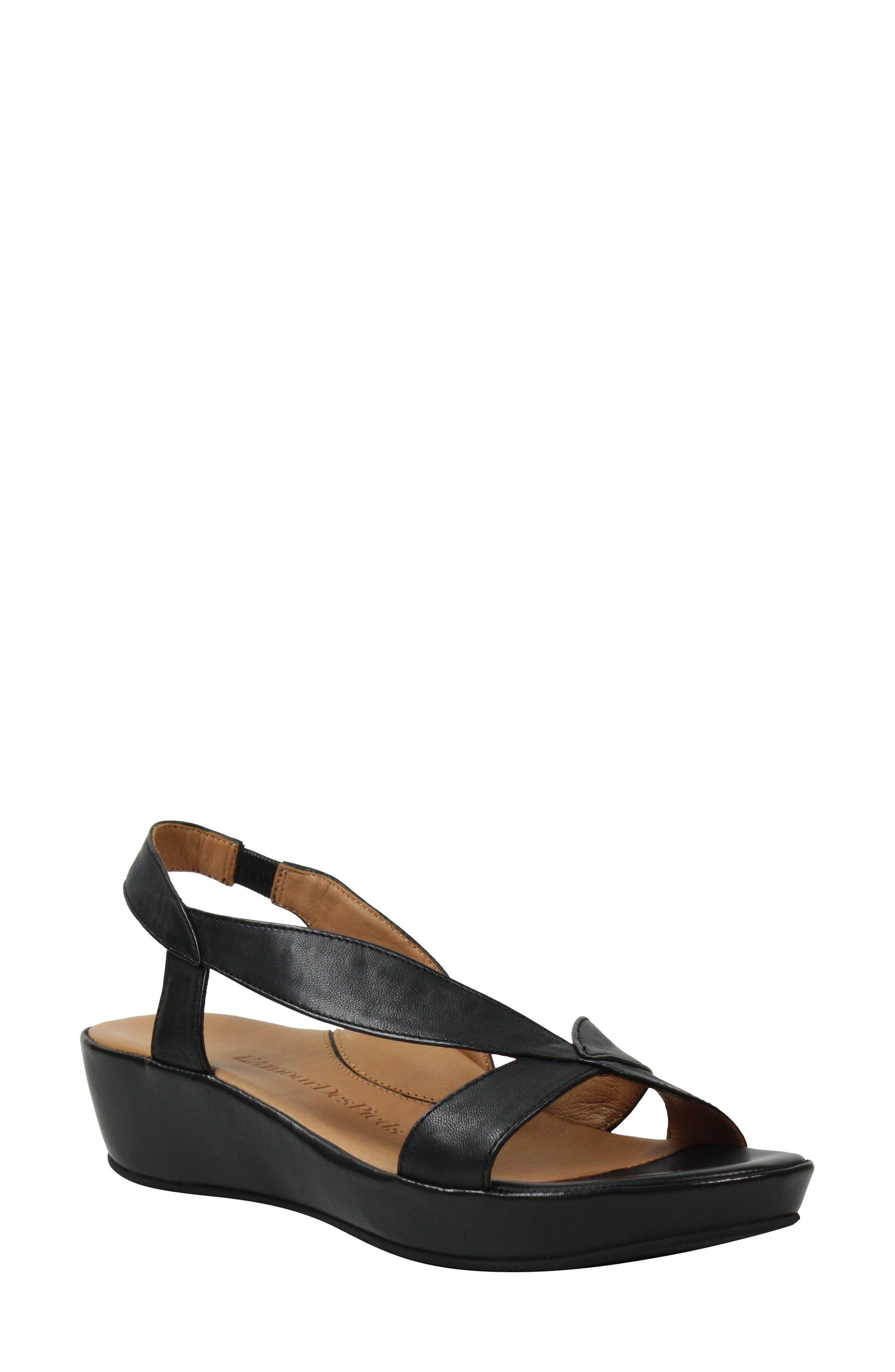 L'AMOUR DES PIEDS Crotono Sandal, Main, color, BLACK NAPPA LEATHER
