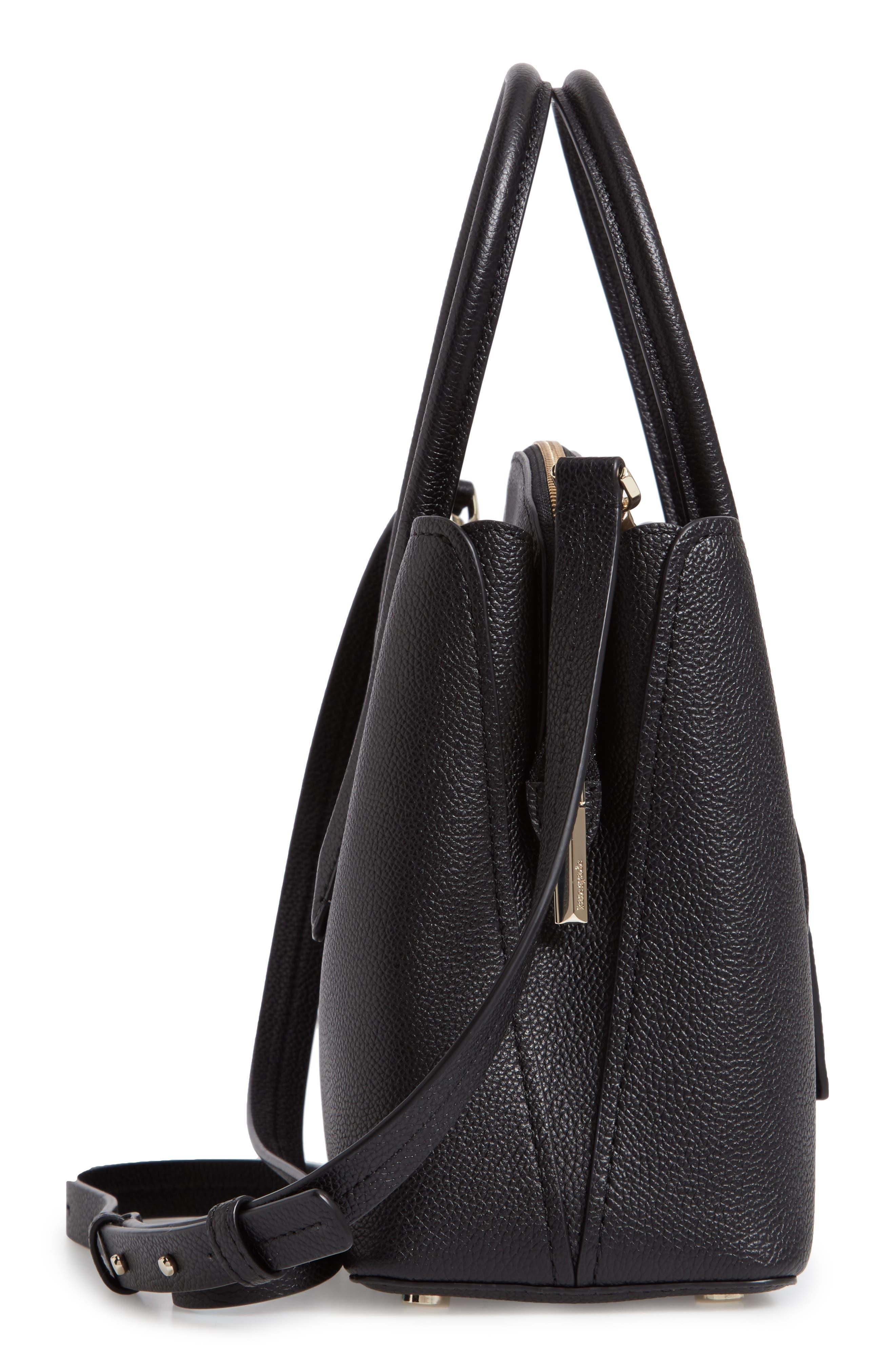 KATE SPADE NEW YORK, medium margaux leather satchel, Alternate thumbnail 6, color, BLACK