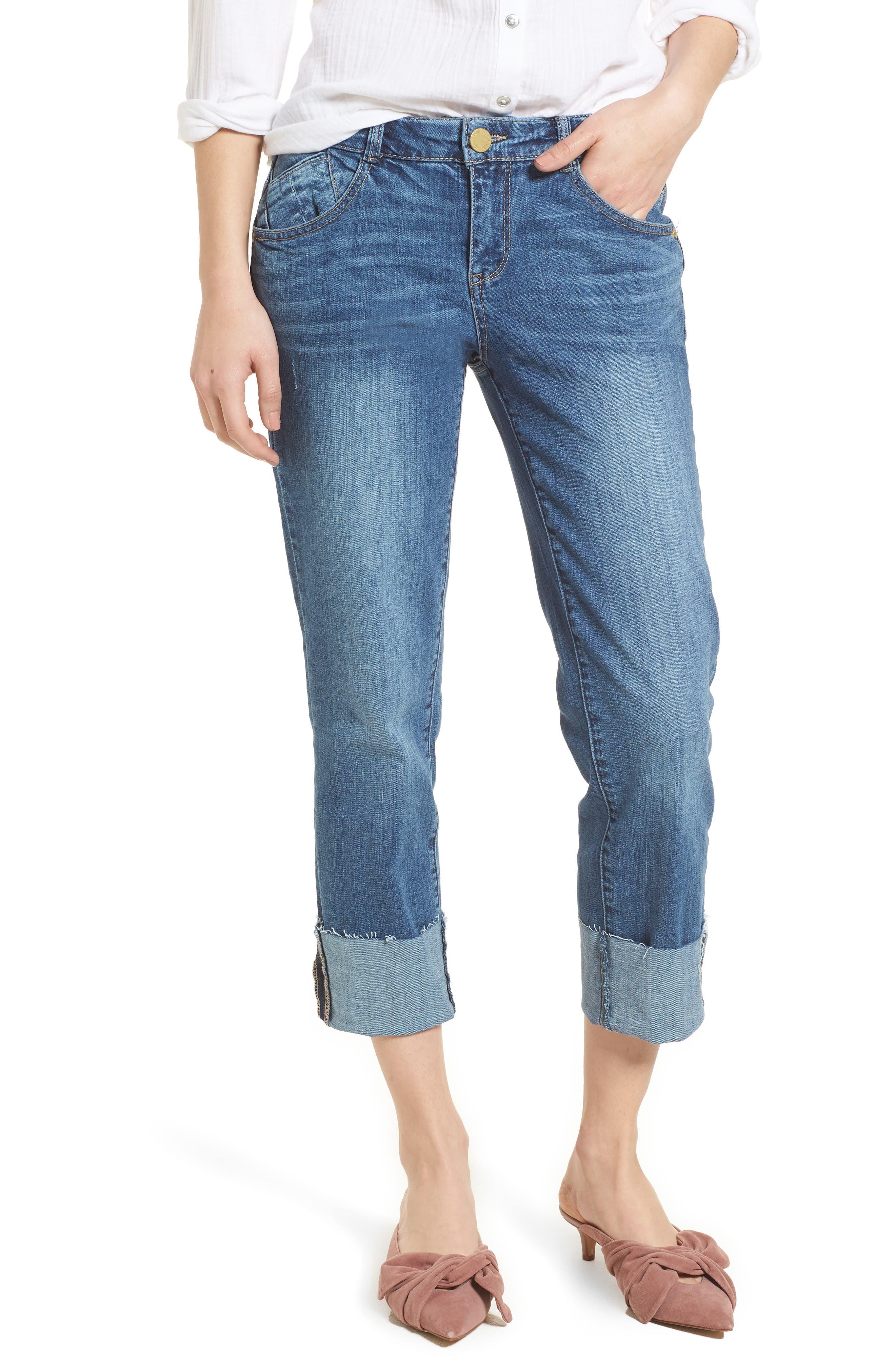 WIT & WISDOM, Flex-ellent Cuffed Boyfriend Jeans, Main thumbnail 1, color, BLUE