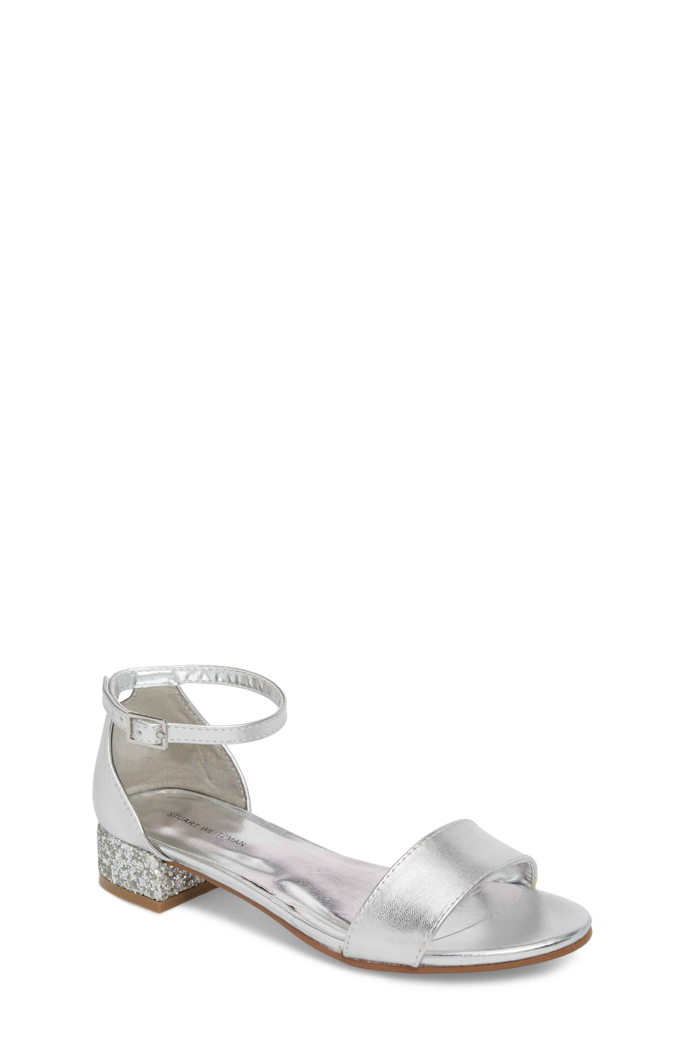 STUART WEITZMAN Penelope Glitter Heel Sandal, Main, color, SILVER
