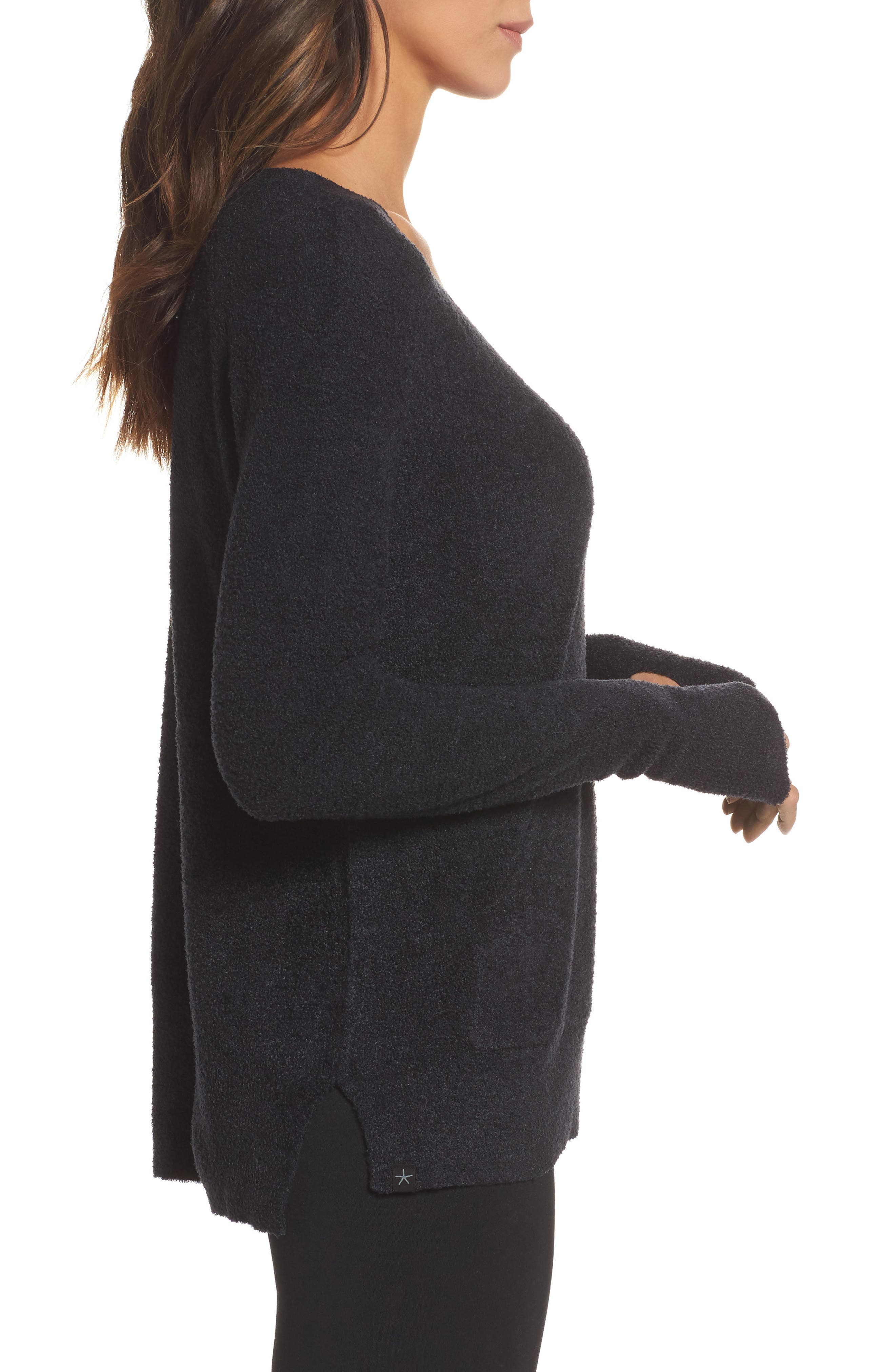 BAREFOOT DREAMS<SUP>®</SUP>, Cozychic Lite<sup>®</sup> Pullover, Alternate thumbnail 3, color, BLACK