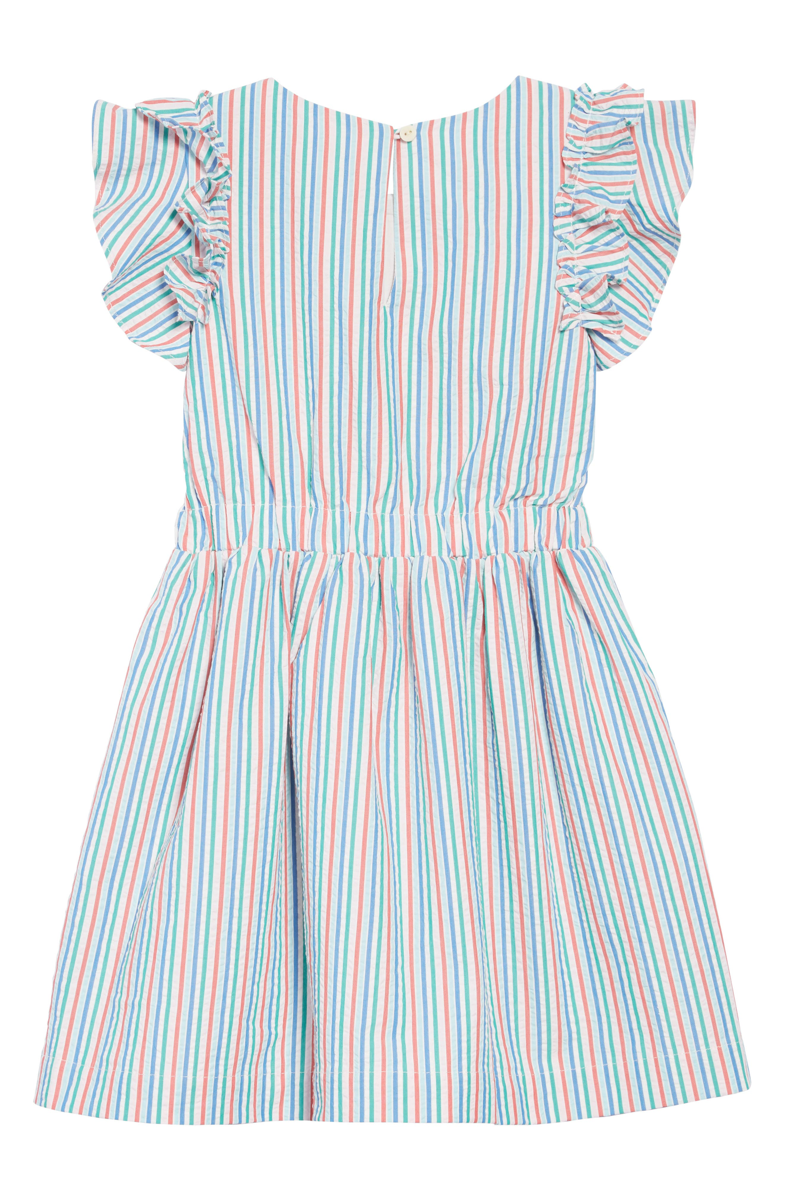CREWCUTS BY J.CREW, Kate Ruffle Seersucker Dress, Alternate thumbnail 2, color, IVORY BLUE MULTI