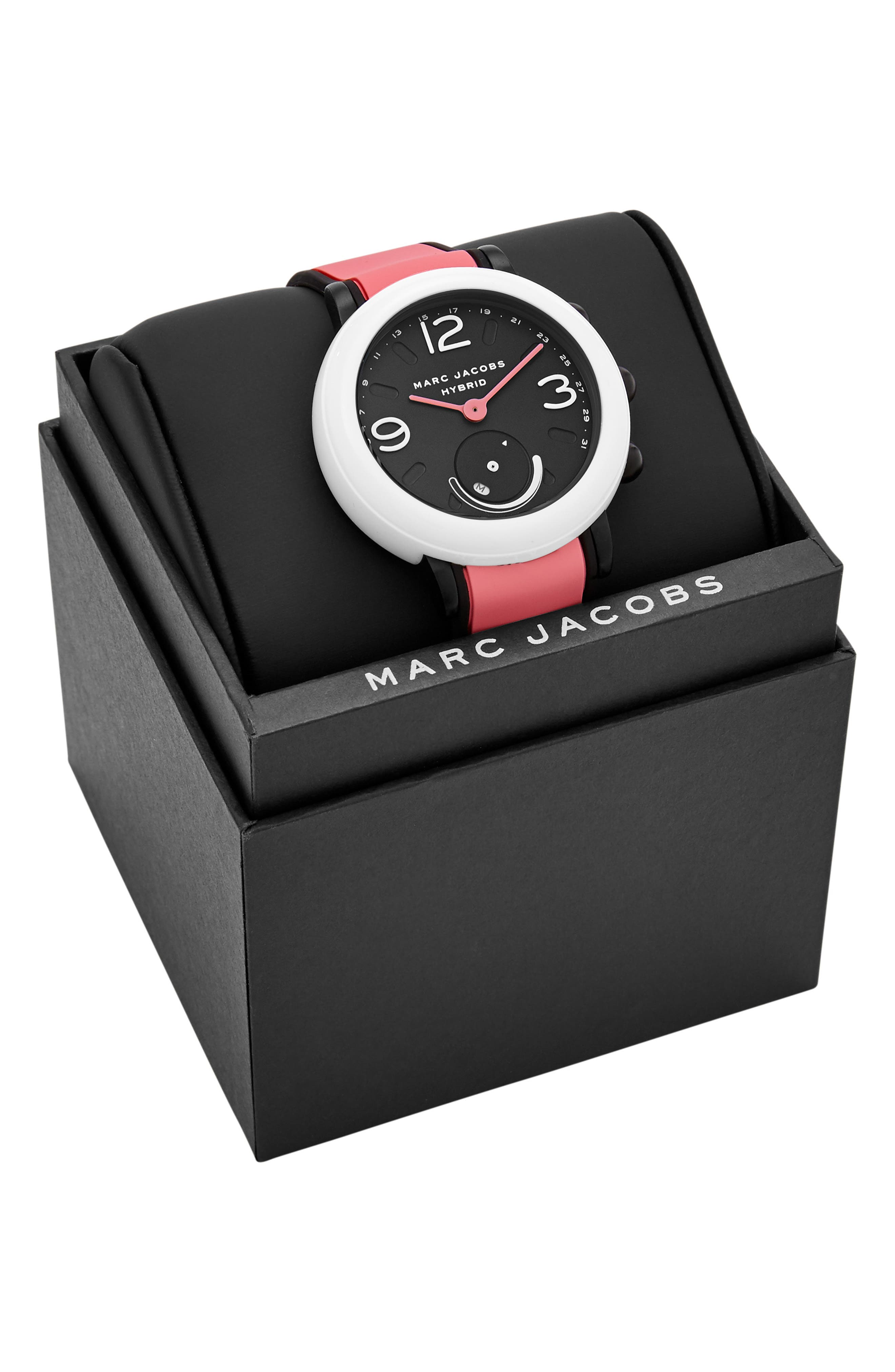 MARC JACOBS, Riley Hybrid Smartwatch, 44mm, Alternate thumbnail 6, color, BLACK